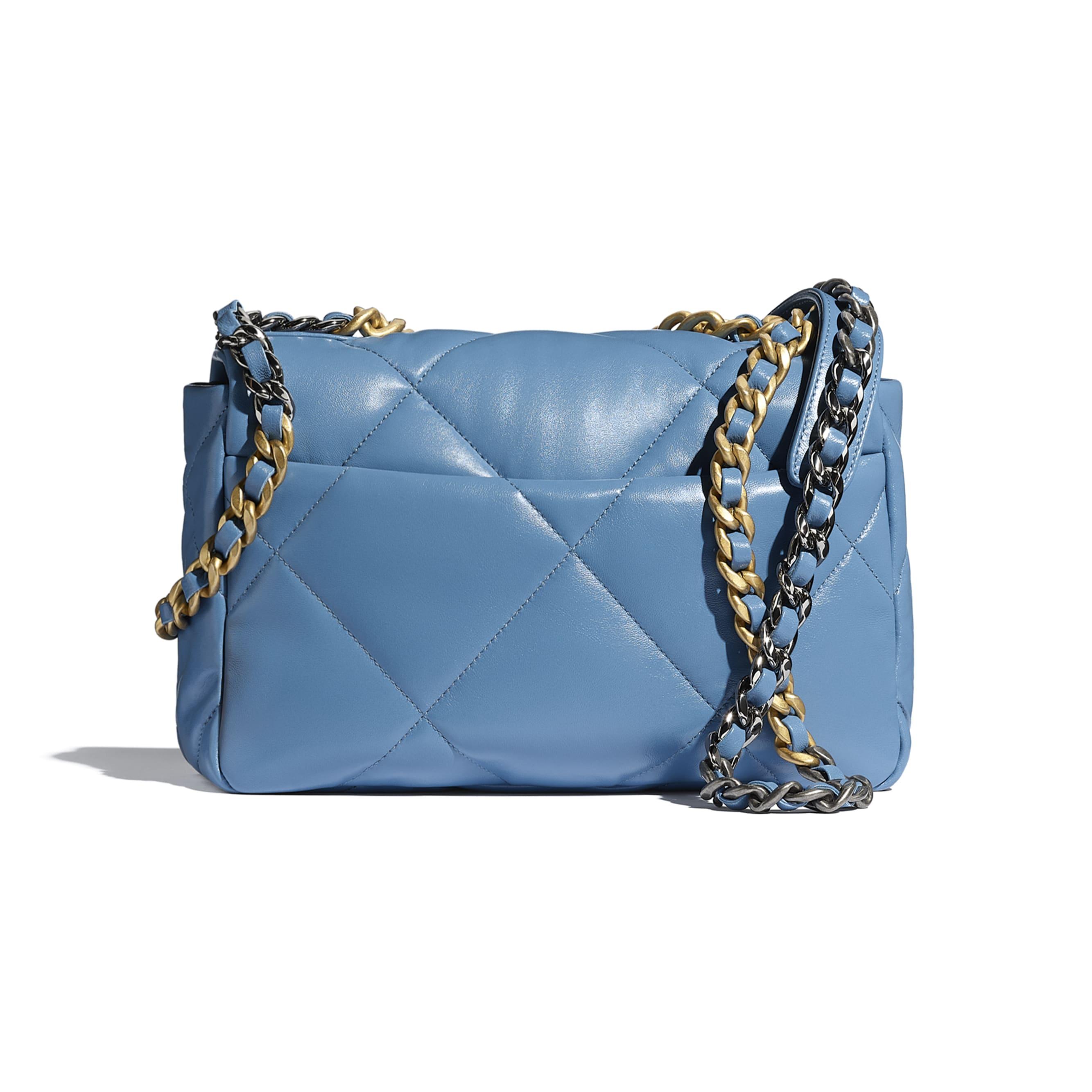 CHANEL 19 Handbag - Blue - Lambskin, Gold-Tone, Silver-Tone & Ruthenium-Finish Metal - CHANEL - Alternative view - see standard sized version