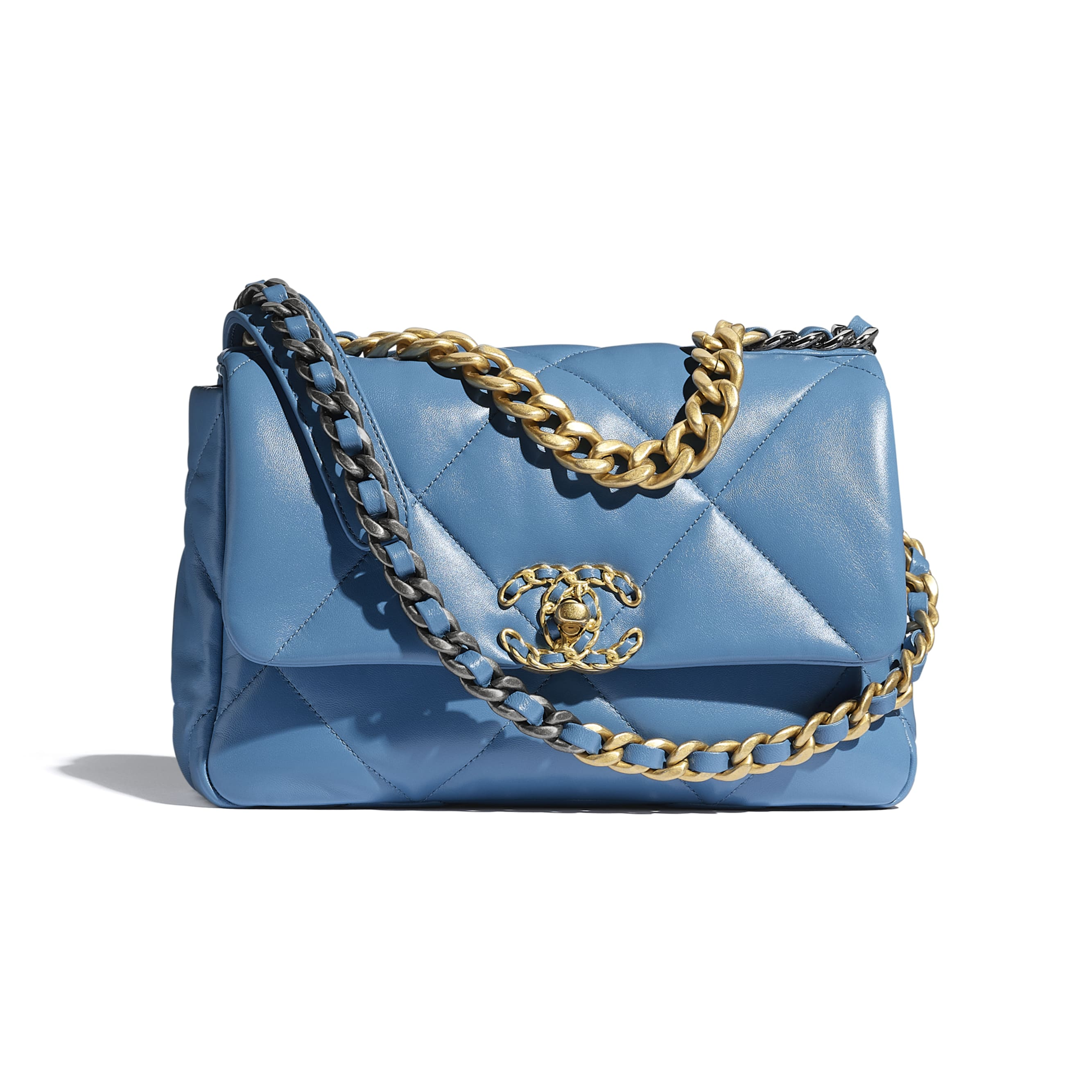 CHANEL 19 Handbag - Blue - Lambskin, Gold-Tone, Silver-Tone & Ruthenium-Finish Metal - CHANEL - Default view - see standard sized version