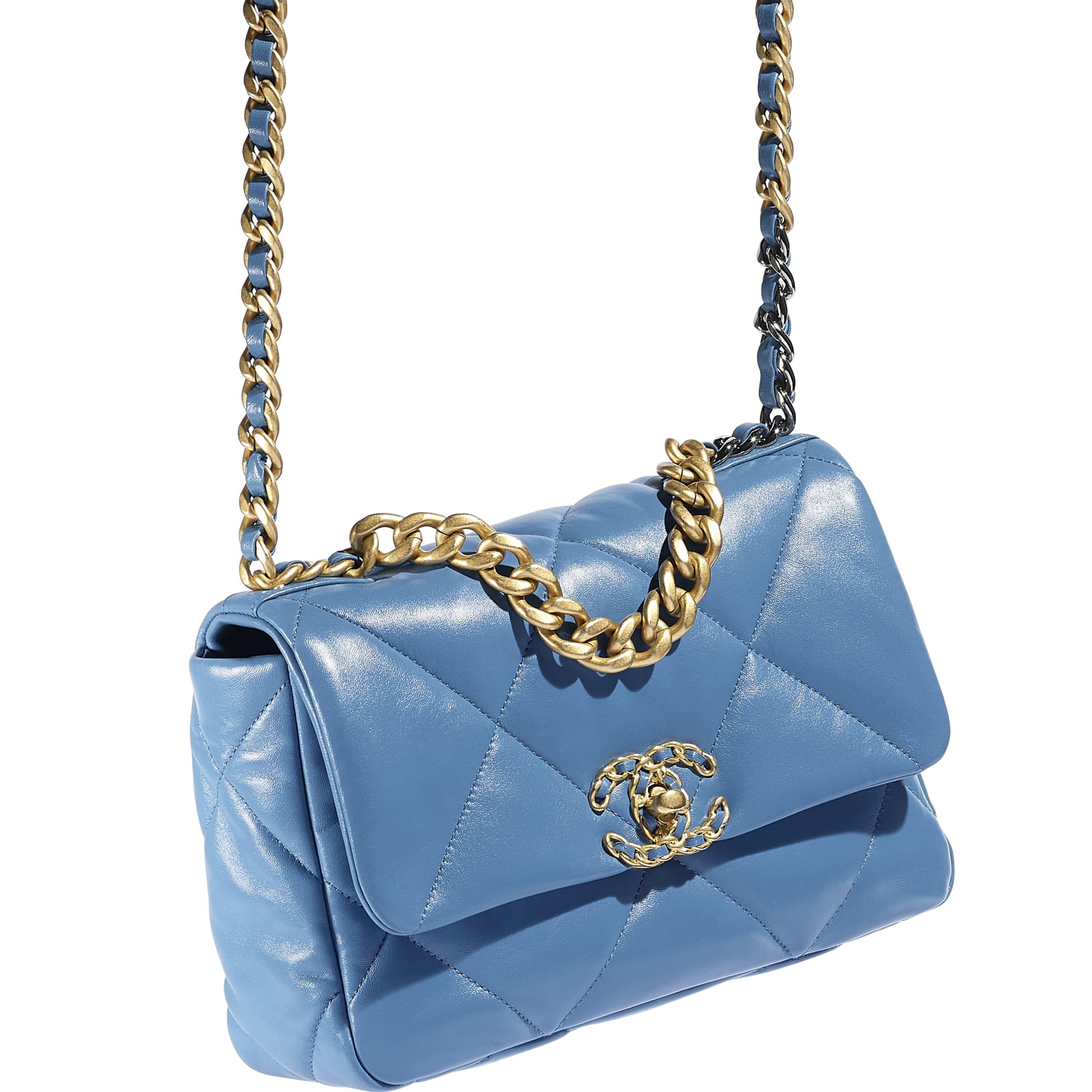 CHANEL 19 Handbag - Blue - Lambskin, Gold-Tone, Silver-Tone & Ruthenium-Finish Metal - CHANEL - Extra view - see standard sized version