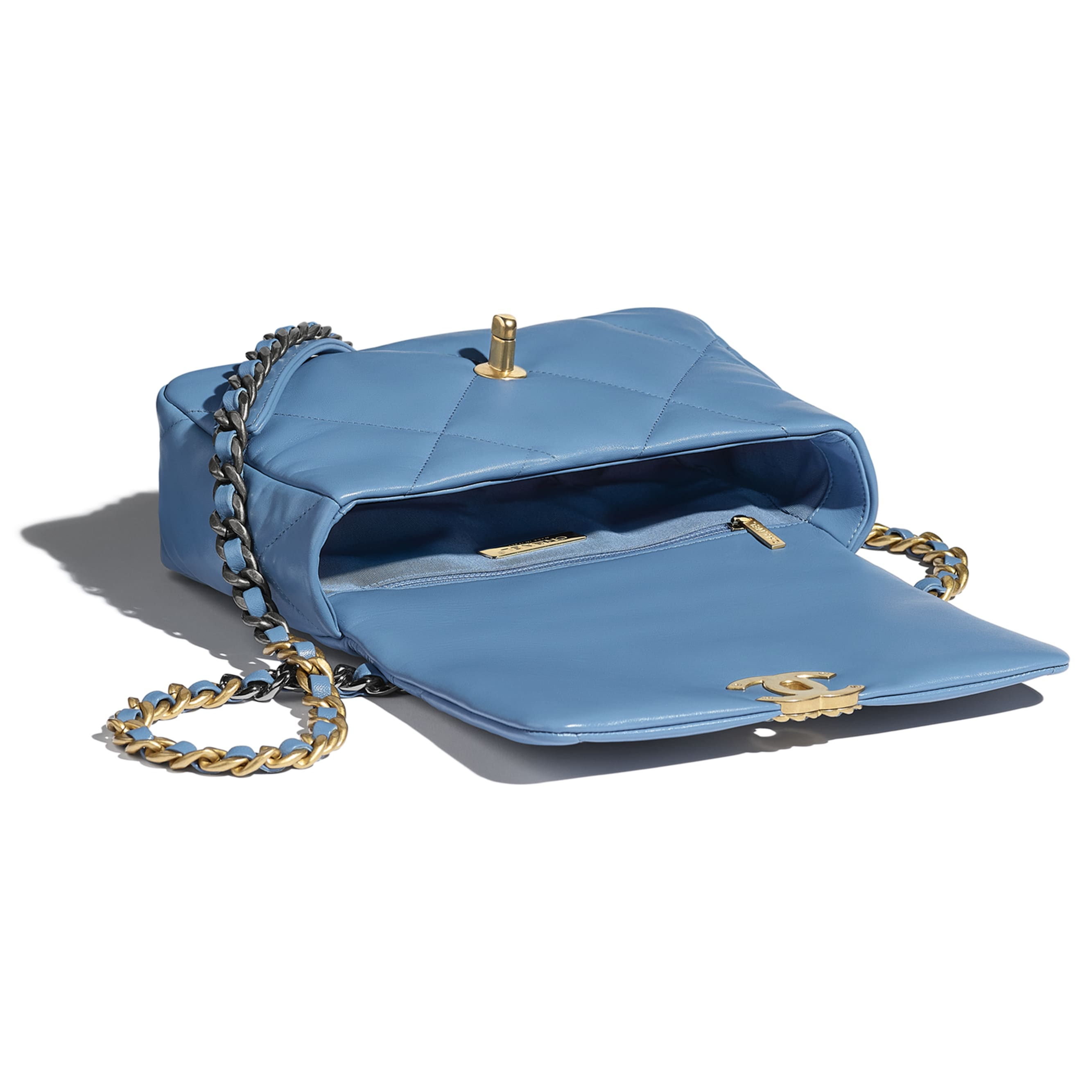 Bolsa CHANEL 19 - Azul - Couro de cordeiro, metal dourado, prateado & rutênio - CHANEL - Outra vista - ver a versão em tamanho standard