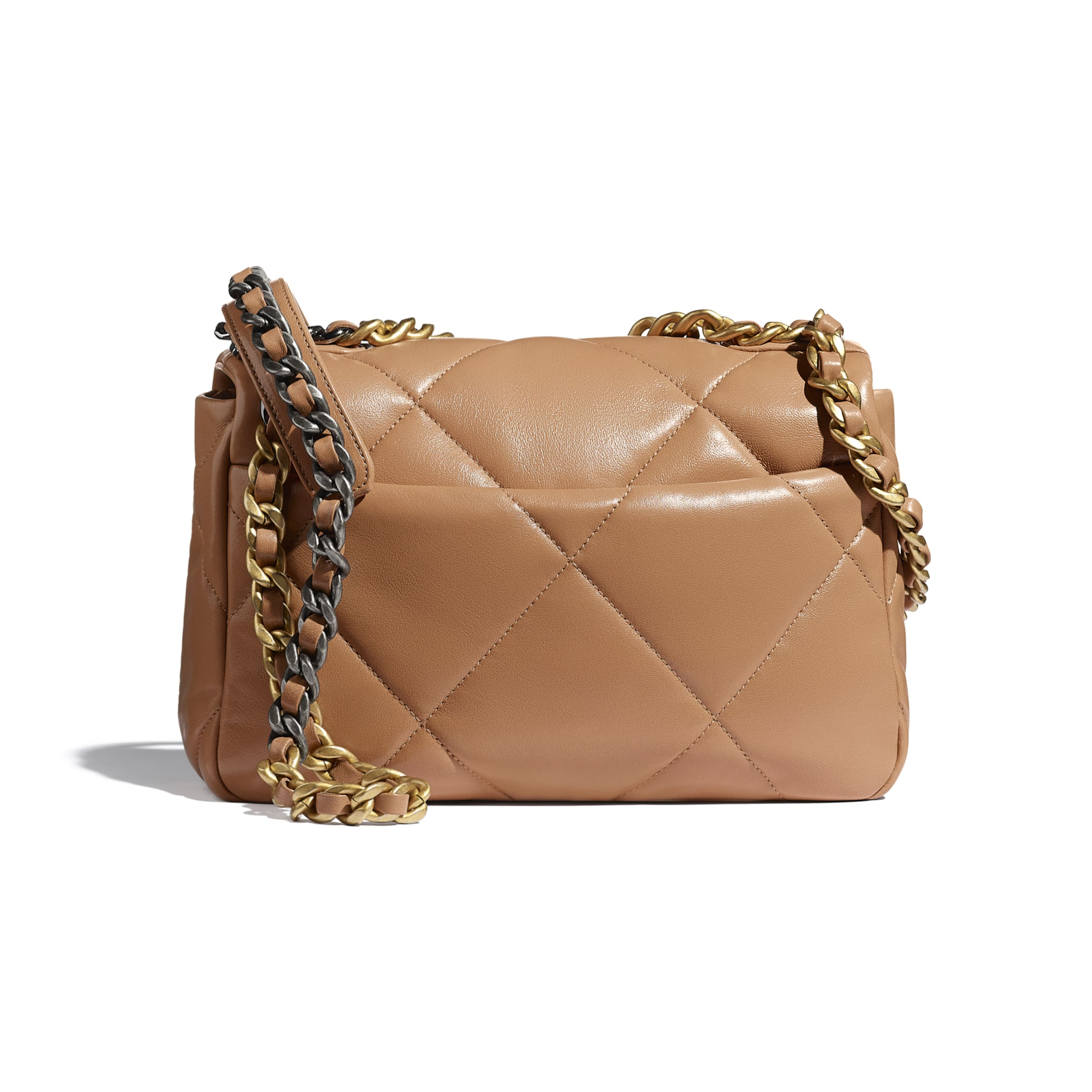 CHANEL 19 Handbag - Brown - Lambskin, Gold-Tone, Silver-Tone & Ruthenium-Finish Metal - CHANEL - Alternative view - see standard sized version