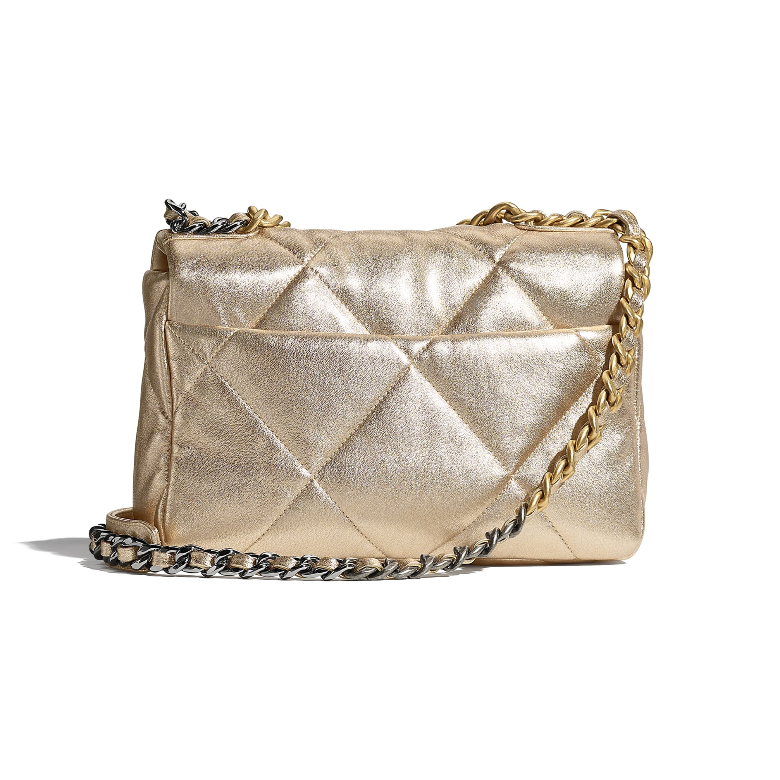 CHANEL 19 Handbag - Gold - Metallic Lambskin, Gold-Tone, Silver-Tone & Ruthenium-Finish Metal - CHANEL - Alternative view - see standard sized version