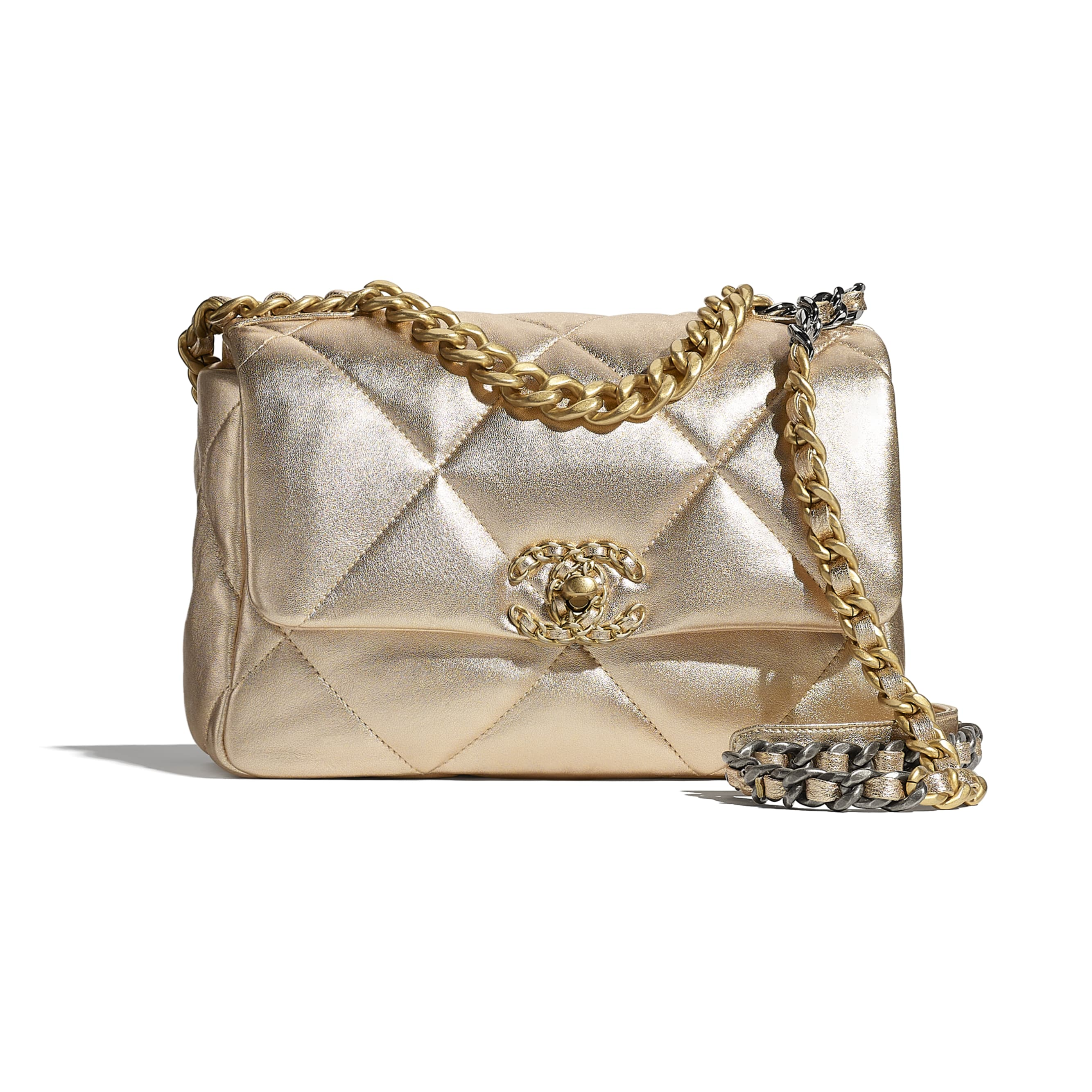 CHANEL 19 Handbag - Gold - Metallic Lambskin, Gold-Tone, Silver-Tone & Ruthenium-Finish Metal - CHANEL - Default view - see standard sized version