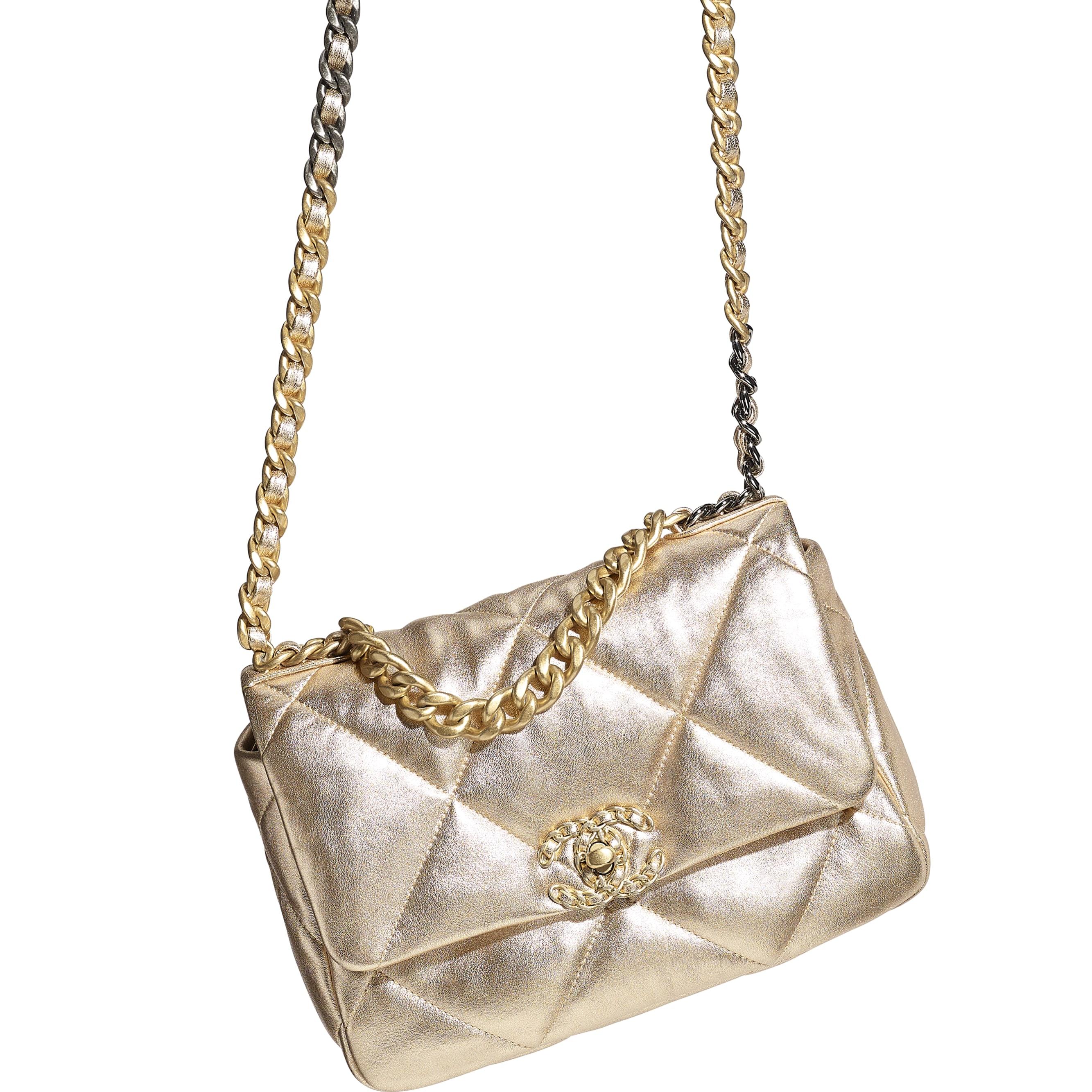 CHANEL 19 Handbag - Gold - Metallic Lambskin, Gold-Tone, Silver-Tone & Ruthenium-Finish Metal - CHANEL - Extra view - see standard sized version