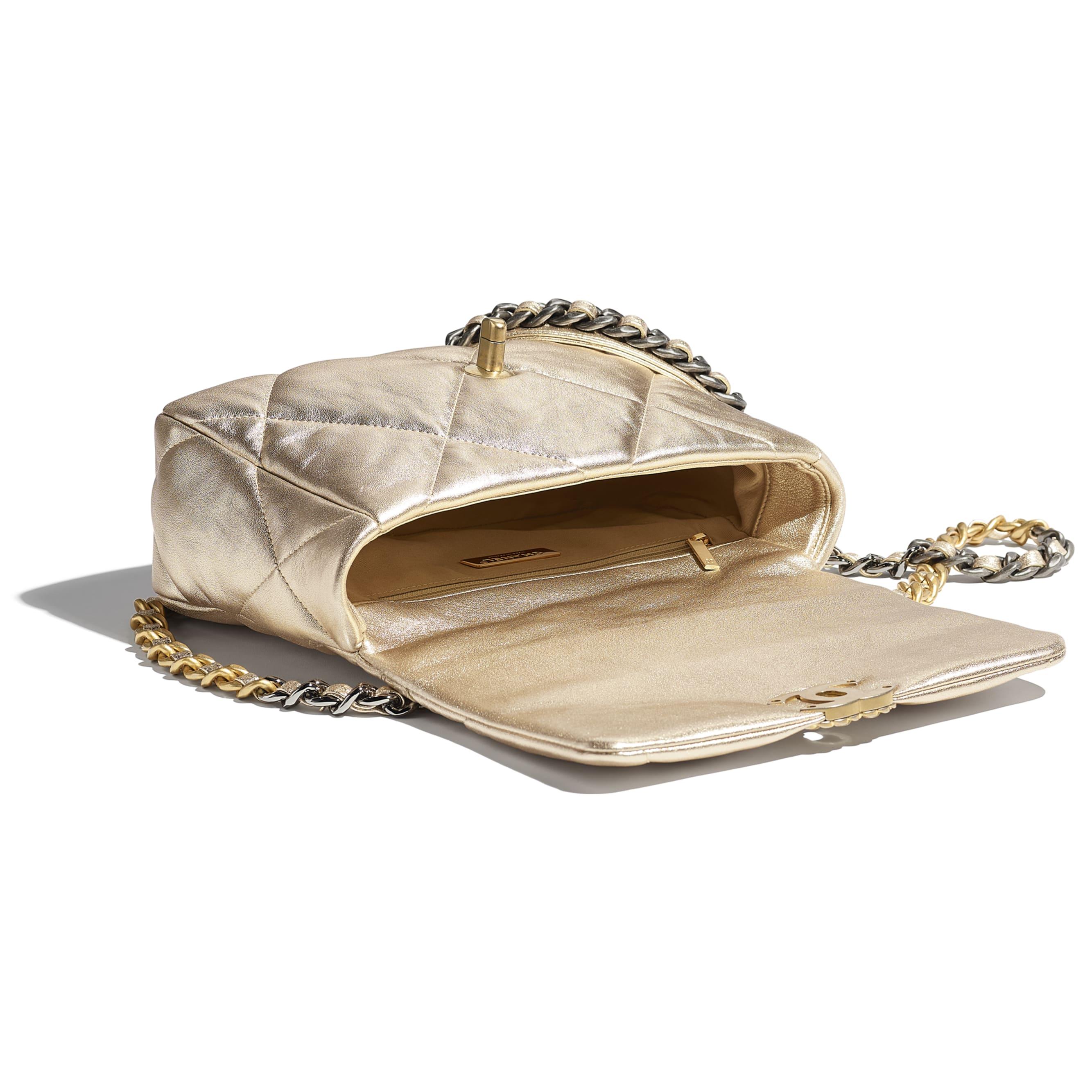 CHANEL 19 Handbag - Gold - Metallic Lambskin, Gold-Tone, Silver-Tone & Ruthenium-Finish Metal - CHANEL - Other view - see standard sized version