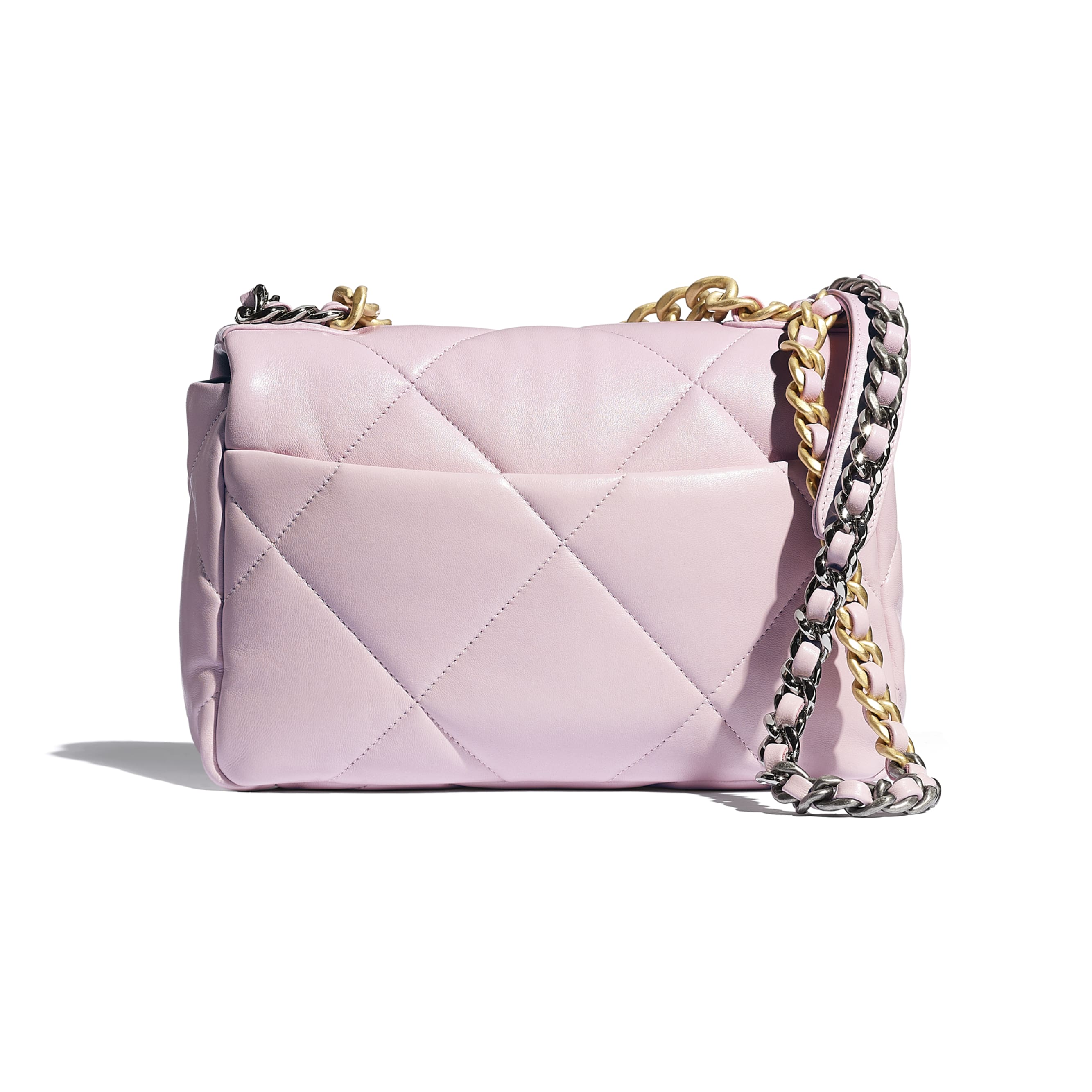 CHANEL 19 Handbag - Light Pink - Lambskin, Gold-Tone, Silver-Tone & Ruthenium-Finish Metal - CHANEL - Alternative view - see standard sized version