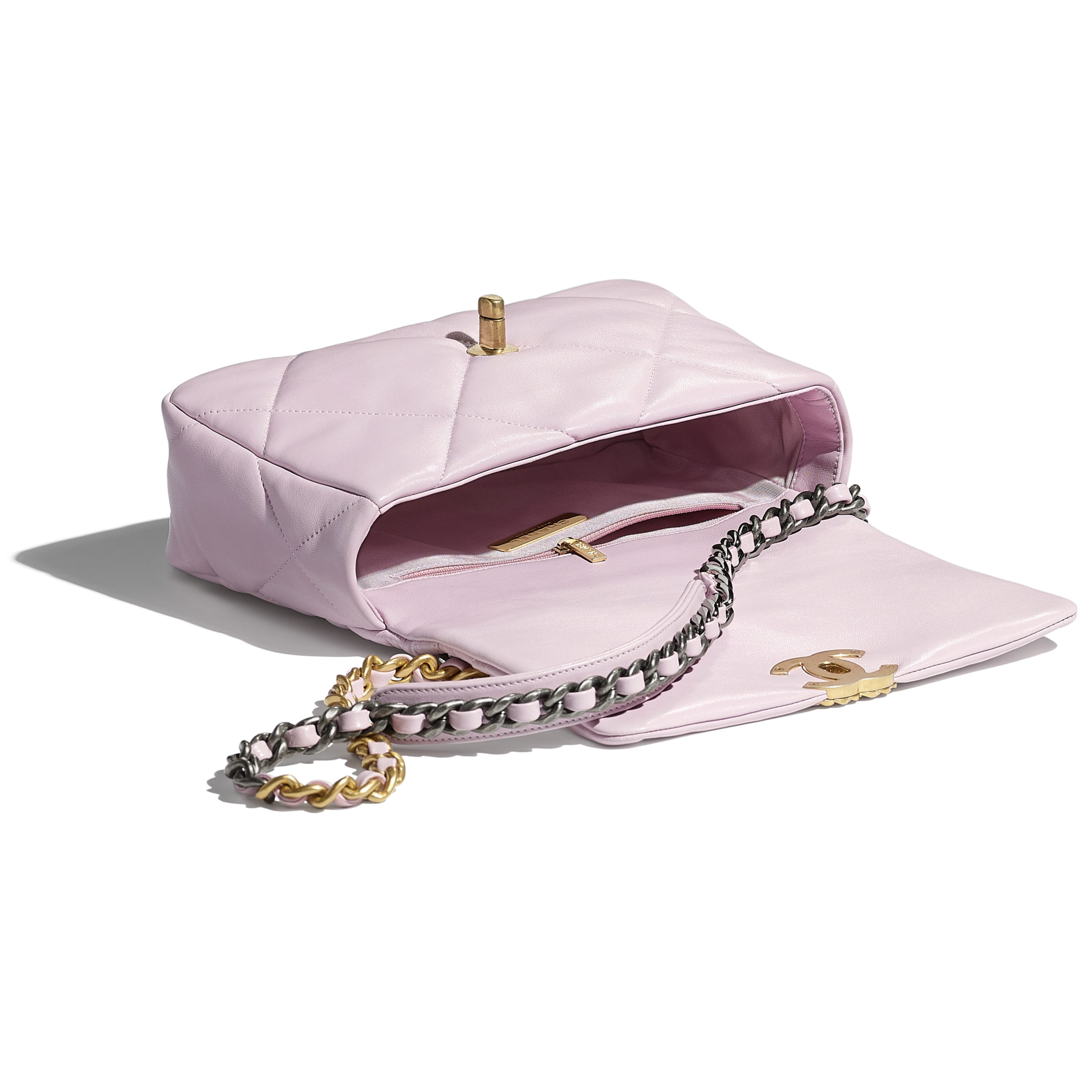 CHANEL 19 Handbag - Light Pink - Lambskin, Gold-Tone, Silver-Tone & Ruthenium-Finish Metal - CHANEL - Other view - see standard sized version