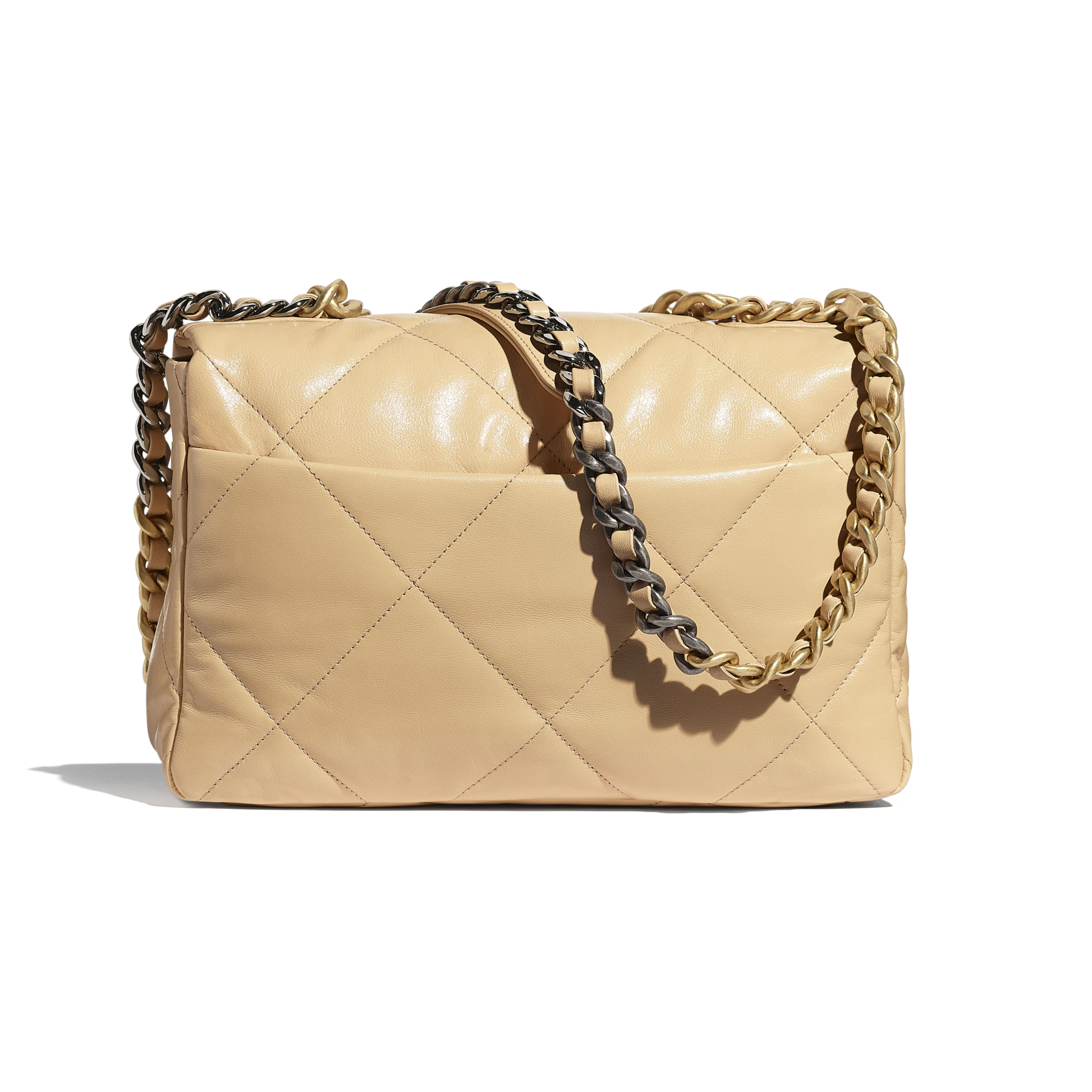 CHANEL 19 Large Flap Bag - Beige - Shiny Goatskin, Gold-Tone, Silver-Tone & Ruthenium-Finish Metal - CHANEL - Alternative view - see standard sized version