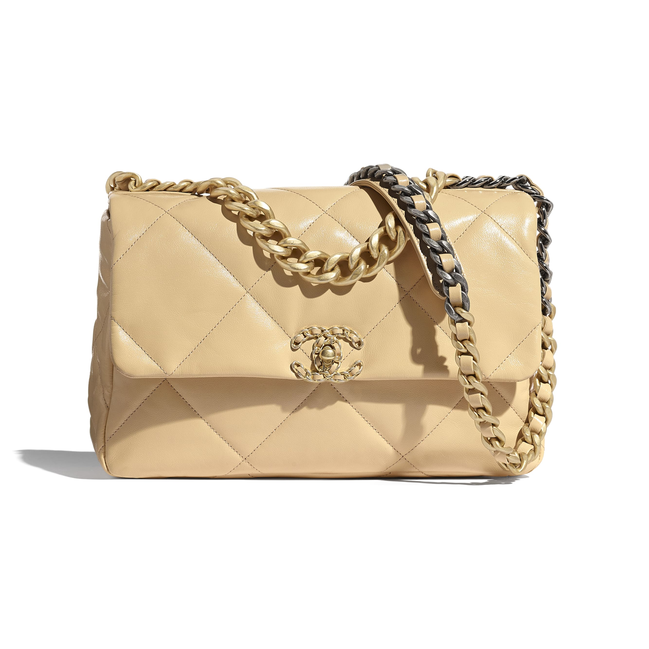 CHANEL 19 Large Flap Bag - Beige - Shiny Goatskin, Gold-Tone, Silver-Tone & Ruthenium-Finish Metal - CHANEL - Default view - see standard sized version
