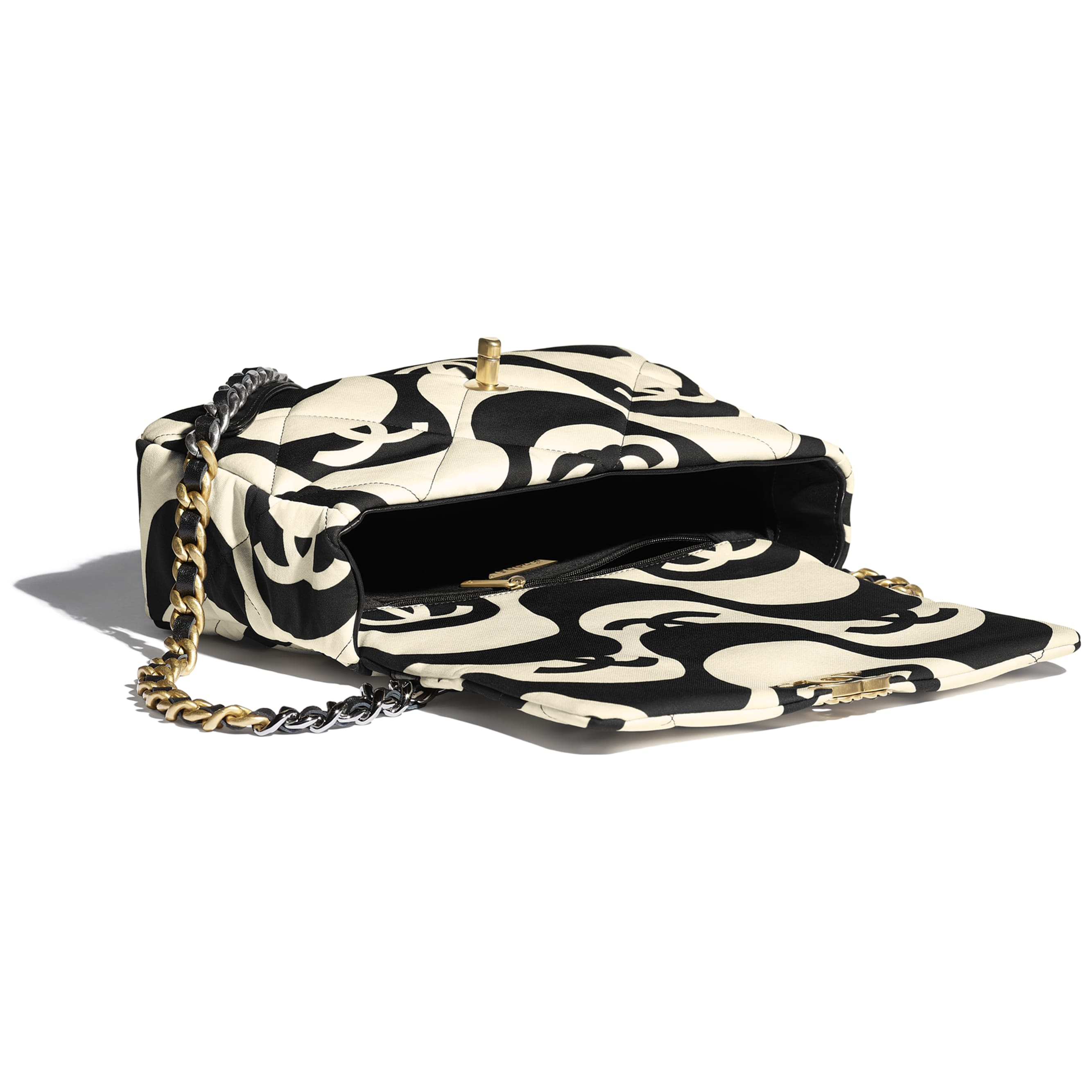 Grand sac à rabat CHANEL 19 - Noir & écru - Tissu imprimé, métal doré, argenté & finition ruthénium - CHANEL - Autre vue - voir la version taille standard