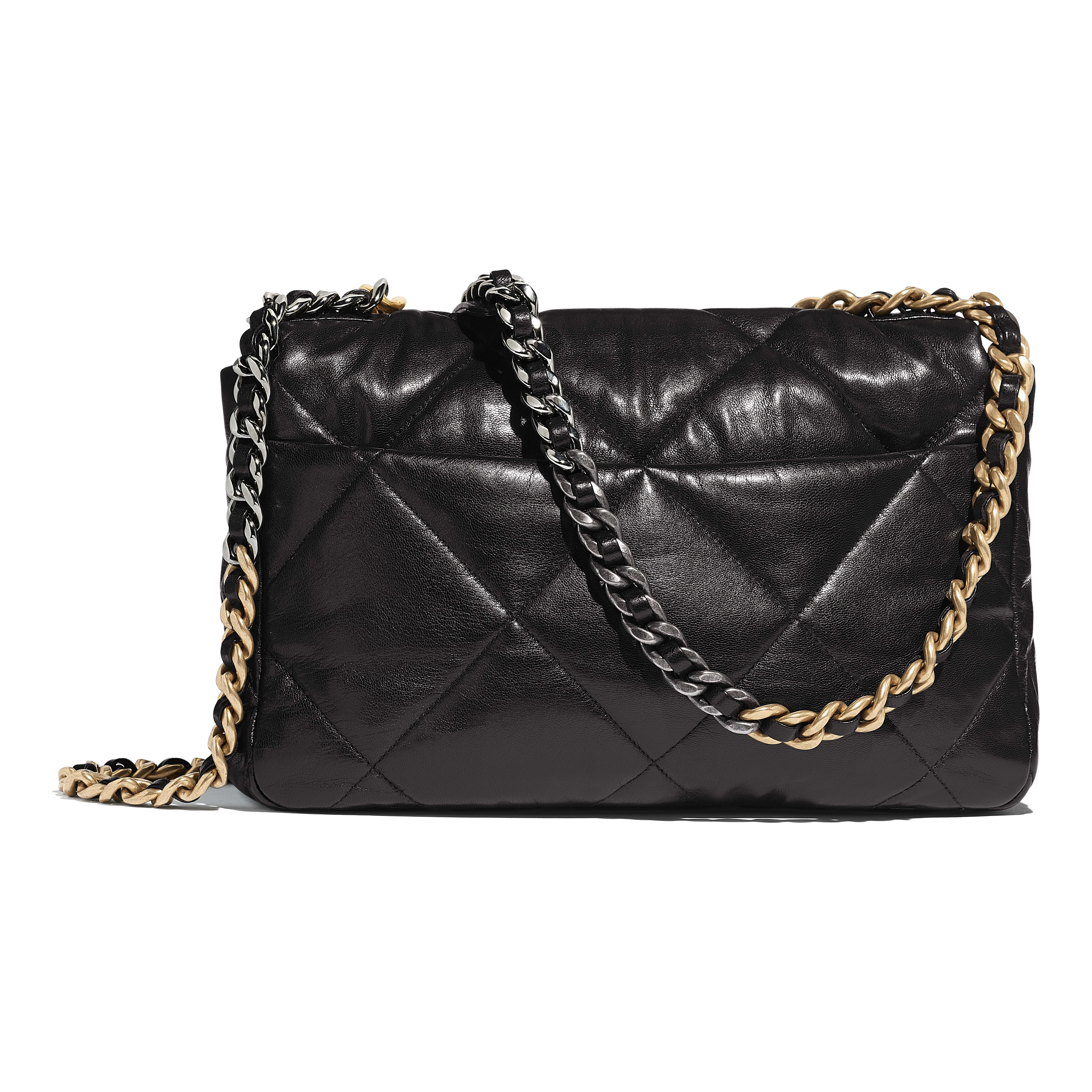 CHANEL 19 Large Flap Bag - Black - Lambskin, Gold-Tone, Silver-Tone & Ruthenium-Finish Metal - CHANEL - Alternative view - see standard sized version