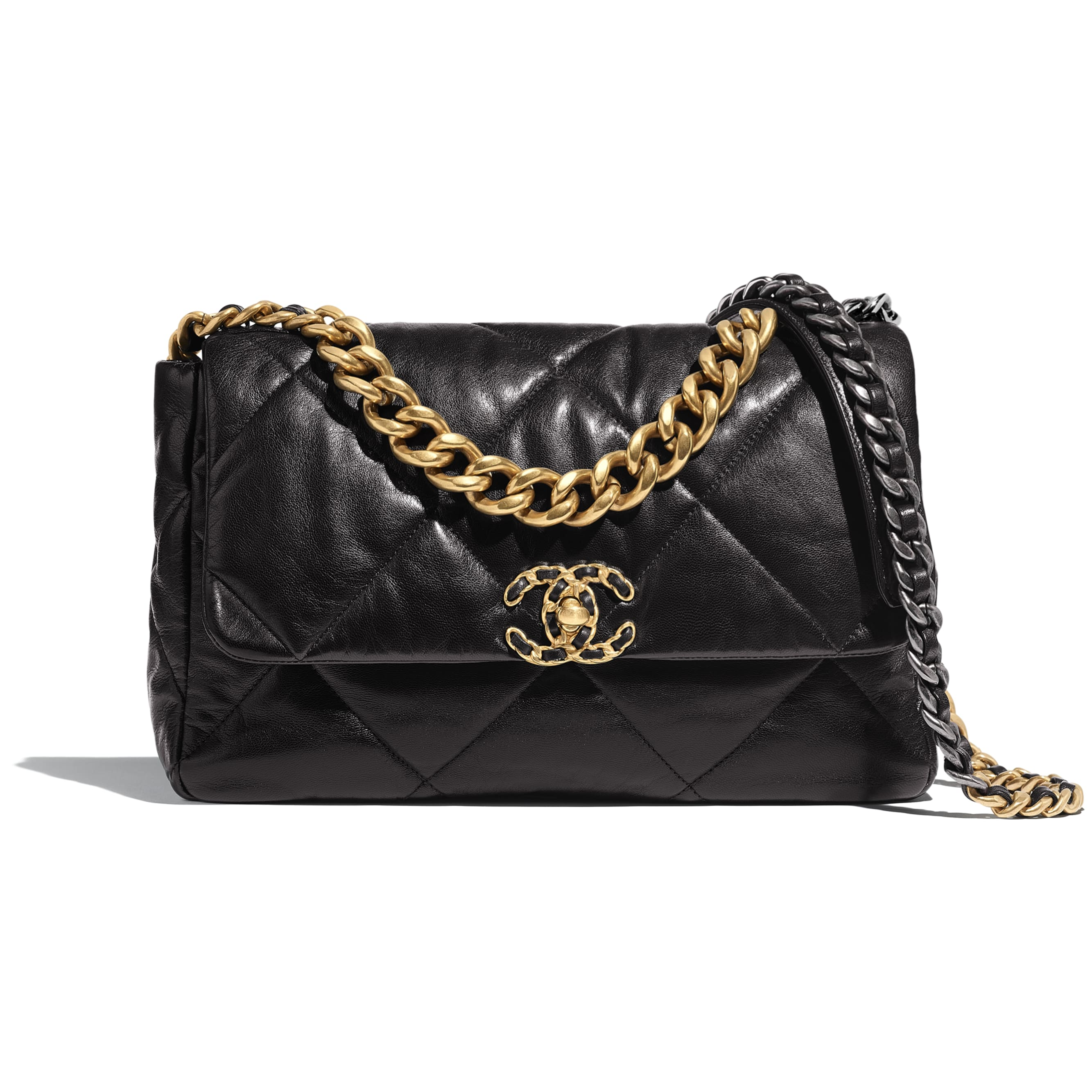 CHANEL 19 Large Flap Bag - Black - Lambskin, Gold-Tone, Silver-Tone & Ruthenium-Finish Metal - CHANEL - Default view - see standard sized version