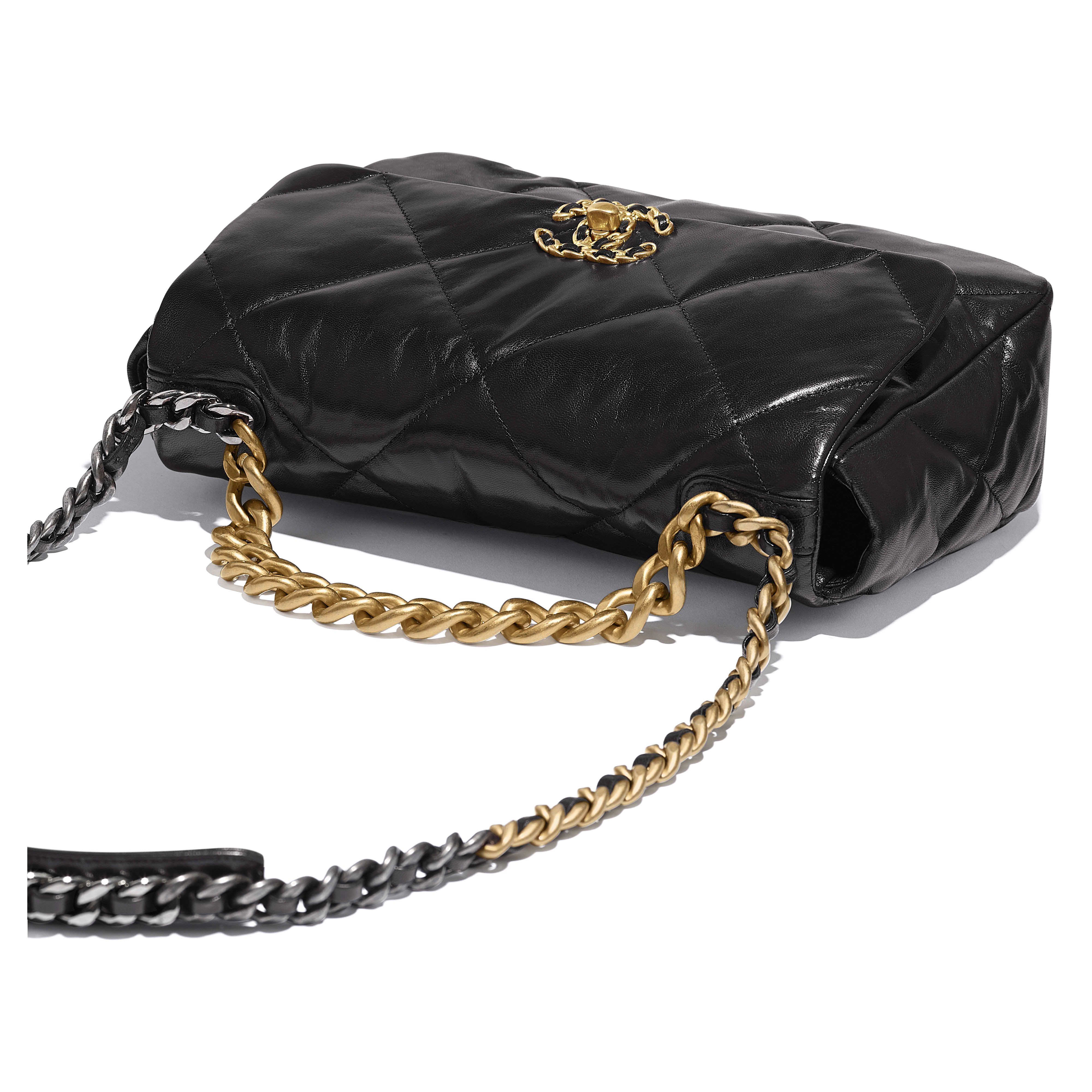 CHANEL 19 Large Flap Bag - Black - Lambskin, Gold-Tone, Silver-Tone & Ruthenium-Finish Metal - CHANEL - Extra view - see standard sized version
