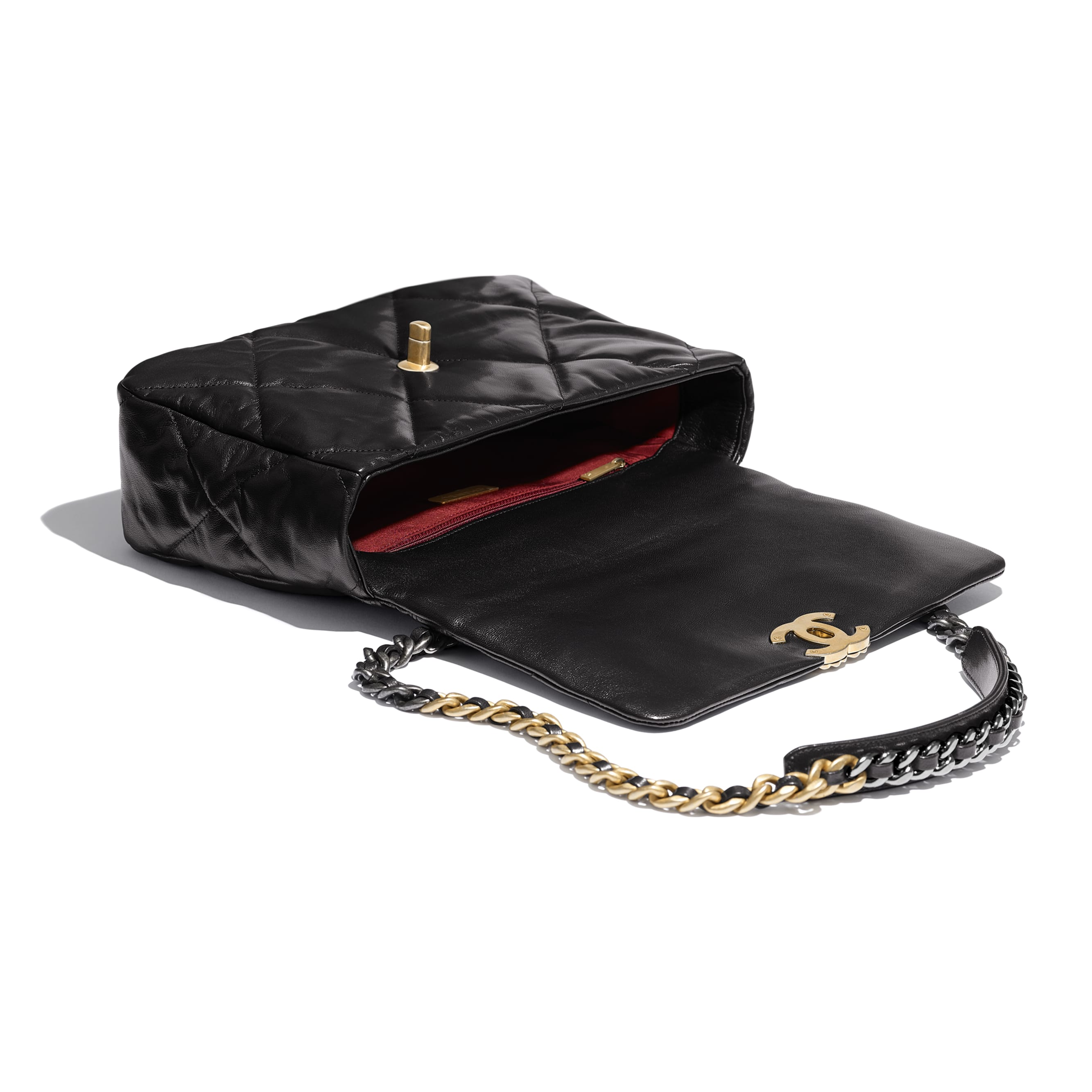 CHANEL 19 Large Flap Bag - Black - Lambskin, Gold-Tone, Silver-Tone & Ruthenium-Finish Metal - CHANEL - Other view - see standard sized version