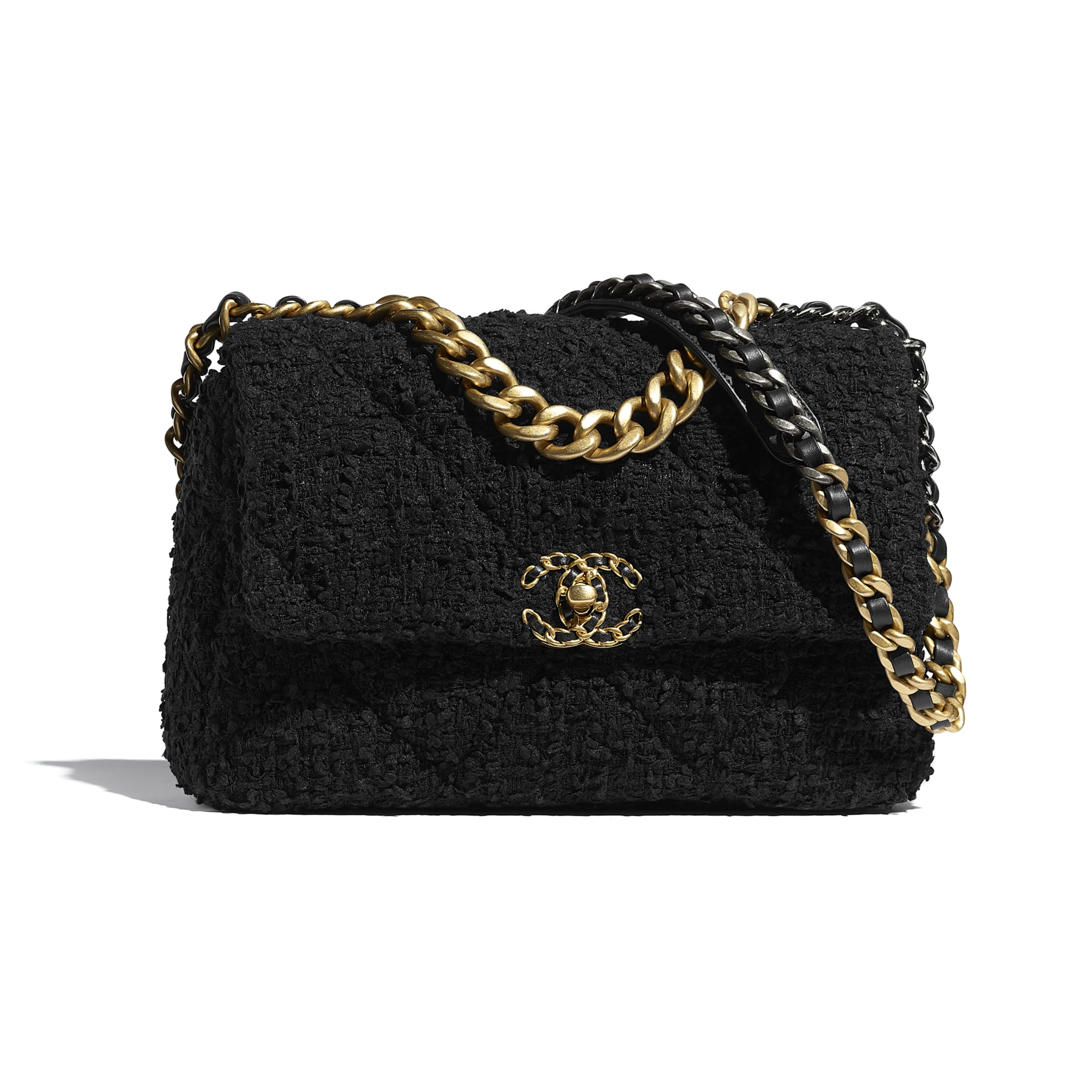 CHANEL 19 Large Flap Bag - Black - Tweed, Gold-Tone, Silver-Tone & Ruthenium-Finish Metal - CHANEL - Default view - see standard sized version