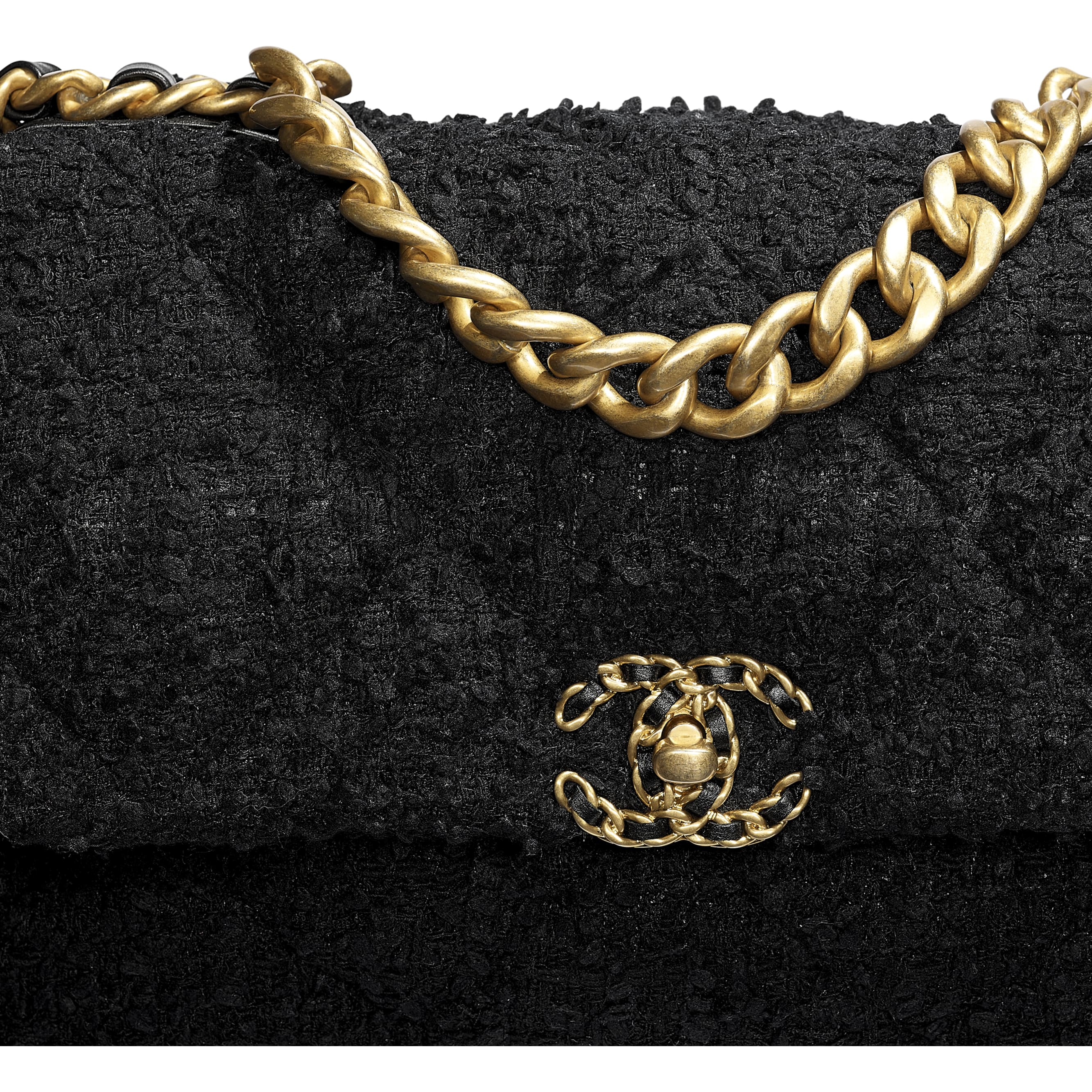 CHANEL 19 Large Flap Bag - Black - Tweed, Gold-Tone, Silver-Tone & Ruthenium-Finish Metal - CHANEL - Extra view - see standard sized version