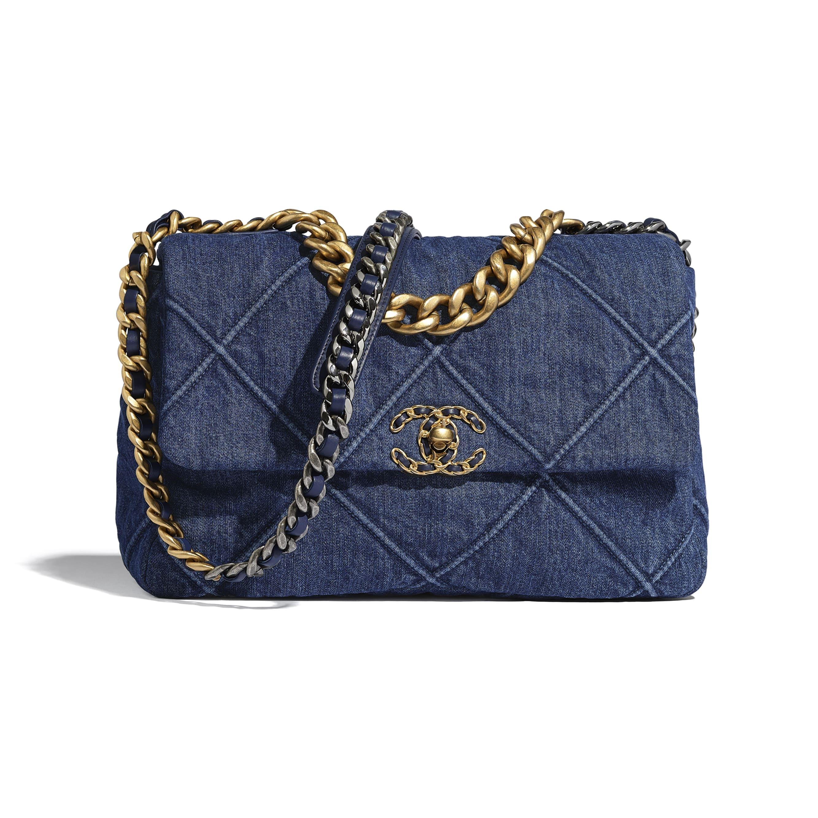 CHANEL 19 Large Flap Bag - Blue - Denim, Gold-Tone, Silver-Tone & Ruthenium-Finish Metal - CHANEL - Default view - see standard sized version