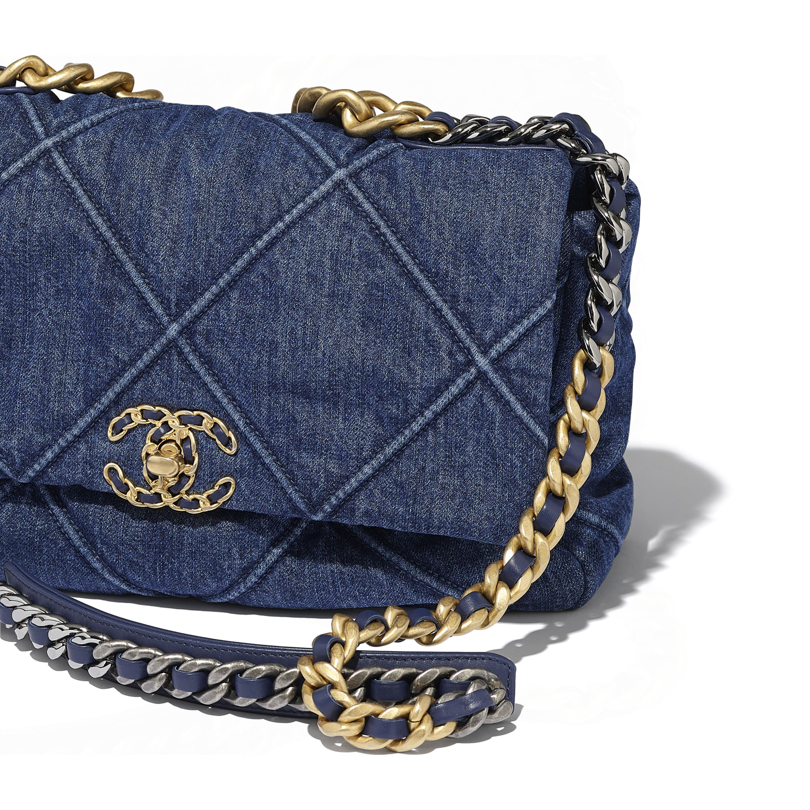 CHANEL 19 Large Flap Bag - Blue - Denim, Gold-Tone, Silver-Tone & Ruthenium-Finish Metal - CHANEL - Extra view - see standard sized version