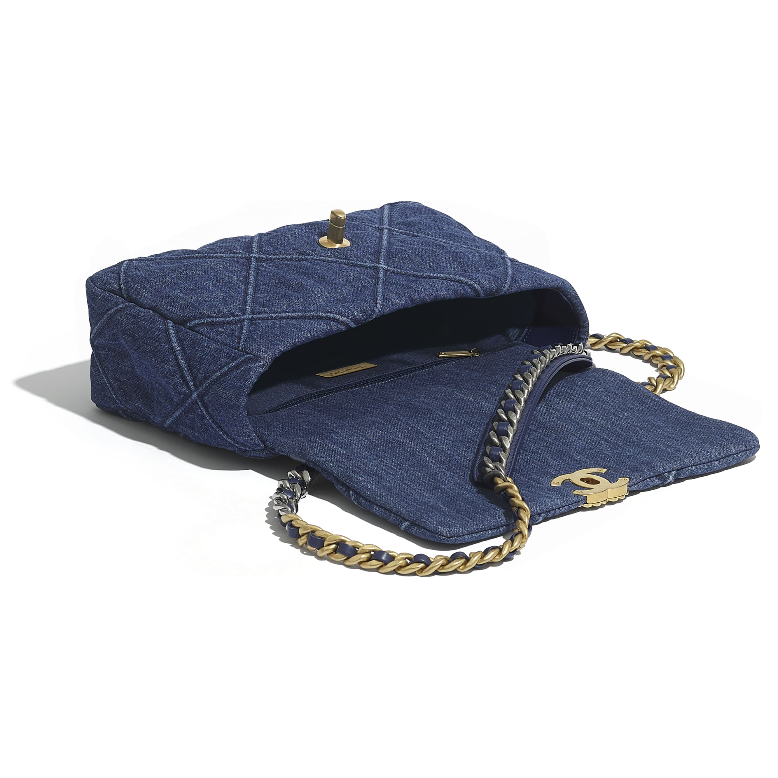 CHANEL 19 Large Flap Bag - Blue - Denim, Gold-Tone, Silver-Tone & Ruthenium-Finish Metal - CHANEL - Other view - see standard sized version