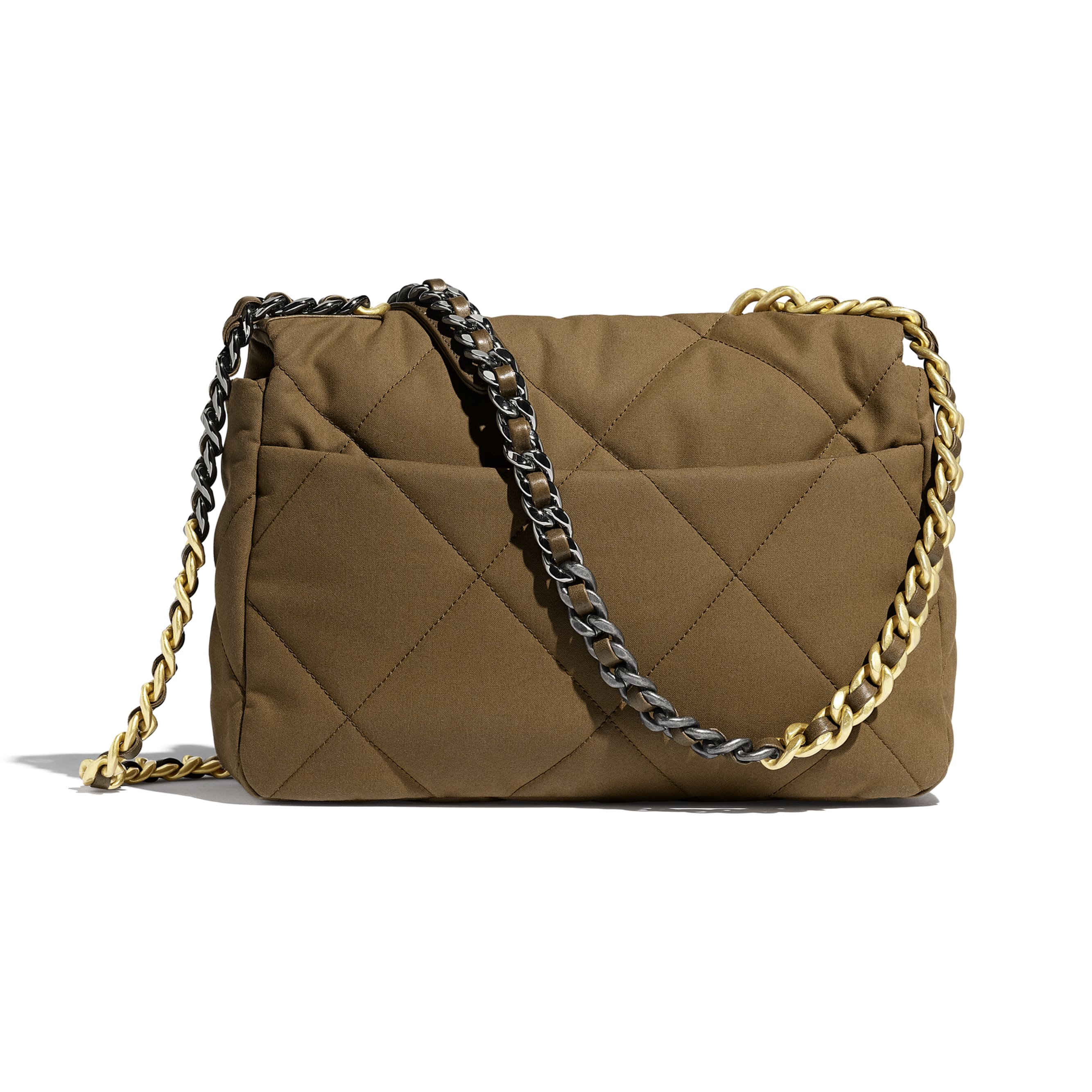 CHANEL 19 Large Flap Bag - Bronze - Cotton Canvas, Calfskin, Gold-Tone, Silver-Tone & Ruthenium-Finish Metal - Alternative view - see standard sized version