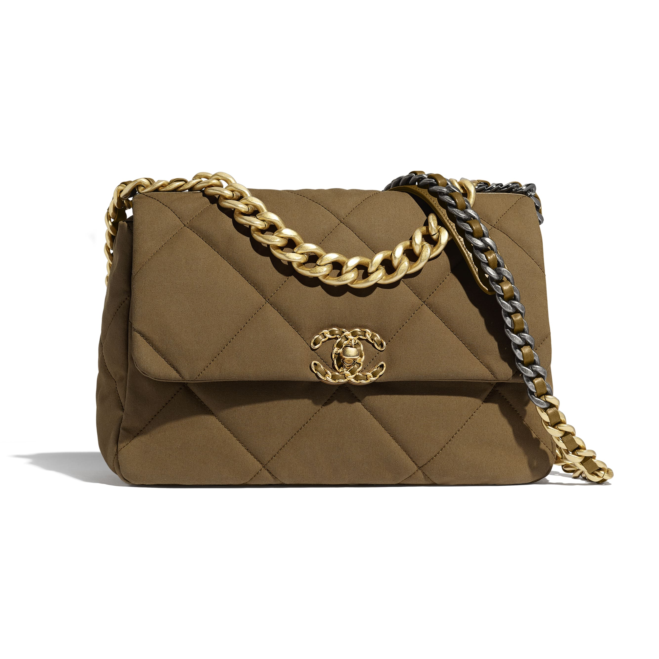 CHANEL 19 Large Flap Bag - Bronze - Cotton Canvas, Calfskin, Gold-Tone, Silver-Tone & Ruthenium-Finish Metal - CHANEL - Default view - see standard sized version