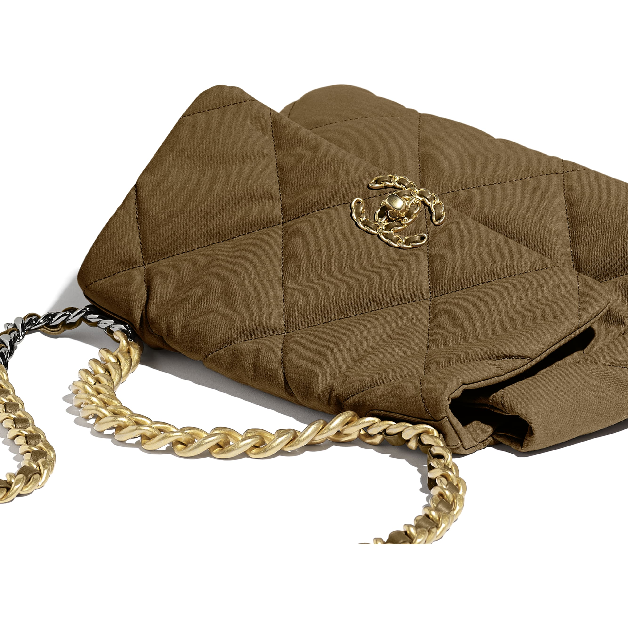CHANEL 19 Large Flap Bag - Bronze - Cotton Canvas, Calfskin, Gold-Tone, Silver-Tone & Ruthenium-Finish Metal - Extra view - see standard sized version
