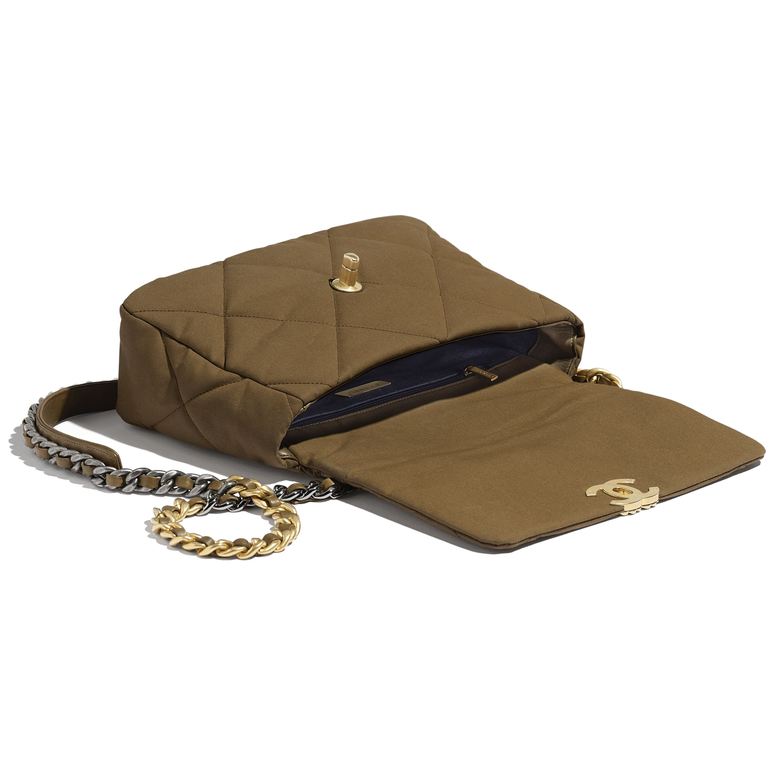 CHANEL 19 Large Flap Bag - Bronze - Cotton Canvas, Calfskin, Gold-Tone, Silver-Tone & Ruthenium-Finish Metal - Other view - see standard sized version