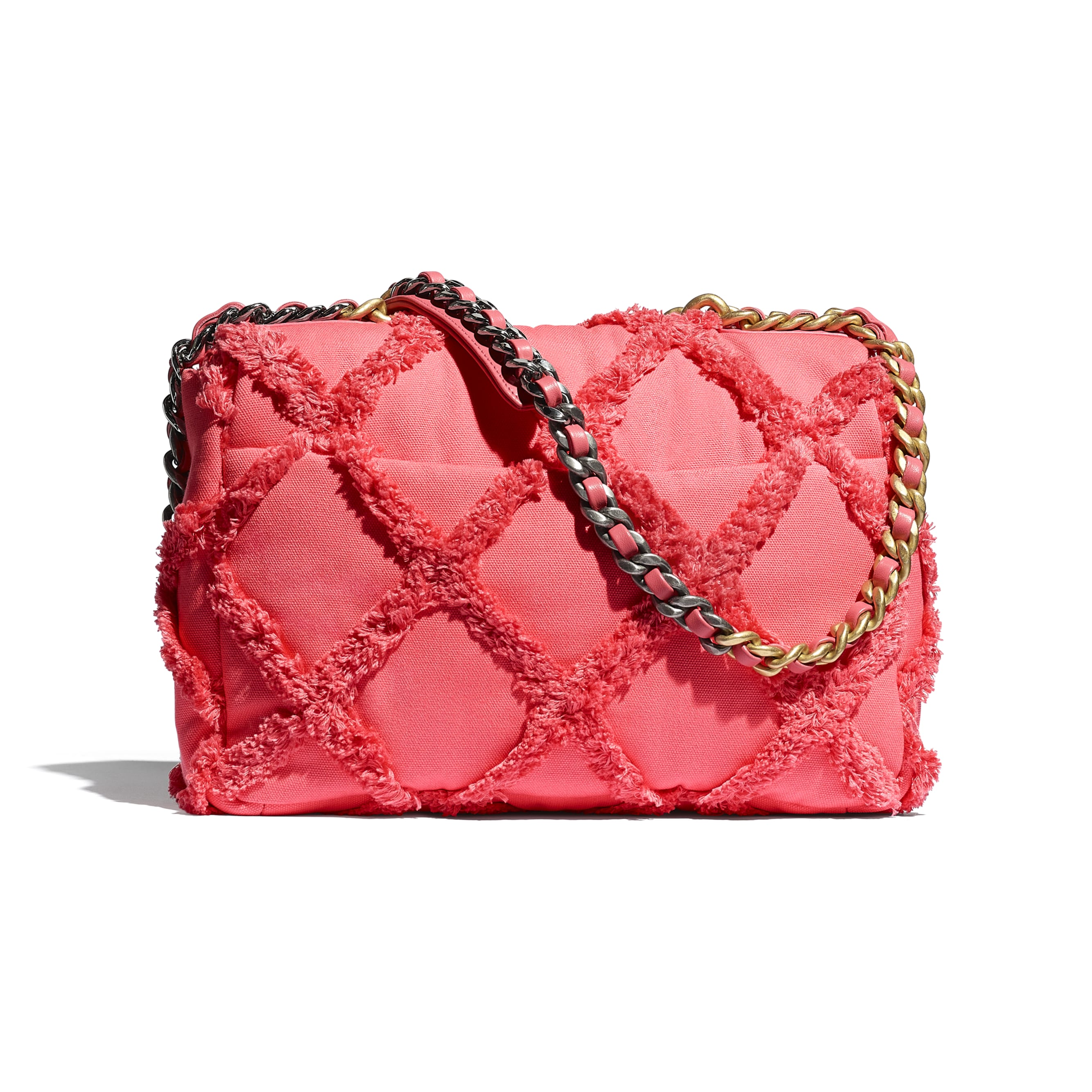 CHANEL 19 Large Flap Bag - Coral - Cotton Canvas, Calfskin, Gold-Tone, Silver-Tone & Ruthenium-Finish Metal - CHANEL - Alternative view - see standard sized version
