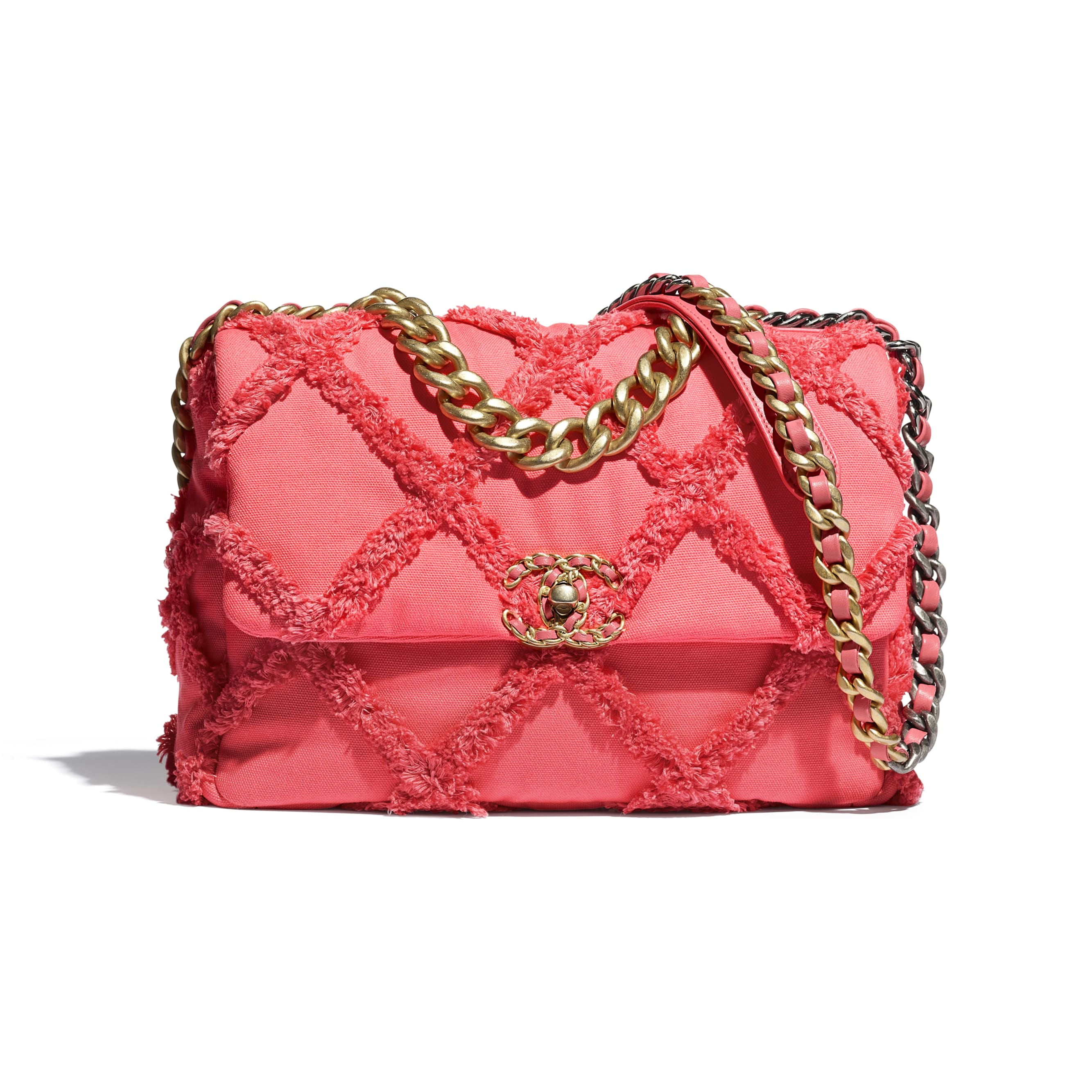 CHANEL 19 Large Flap Bag - Coral - Cotton Canvas, Calfskin, Gold-Tone, Silver-Tone & Ruthenium-Finish Metal - CHANEL - Default view - see standard sized version