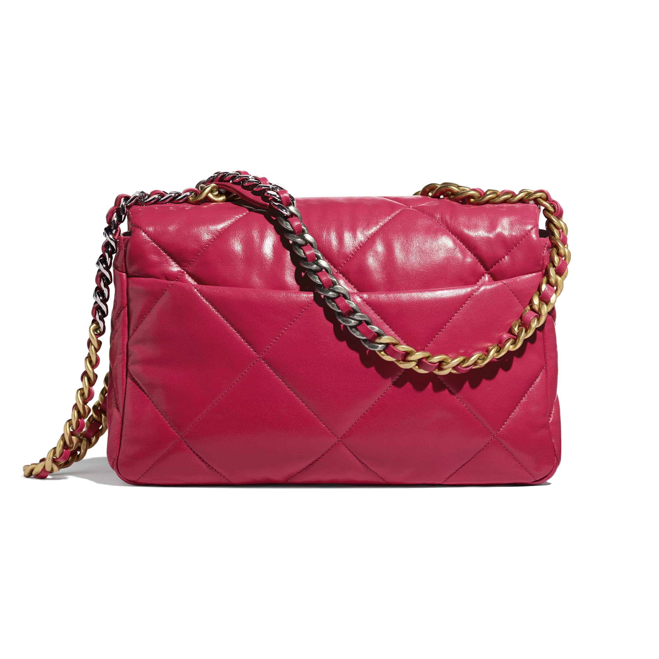 CHANEL 19 Large Flap Bag - Dark Pink - Lambskin, Gold-Tone, Silver-Tone & Ruthenium-Finish Metal - CHANEL - Alternative view - see standard sized version