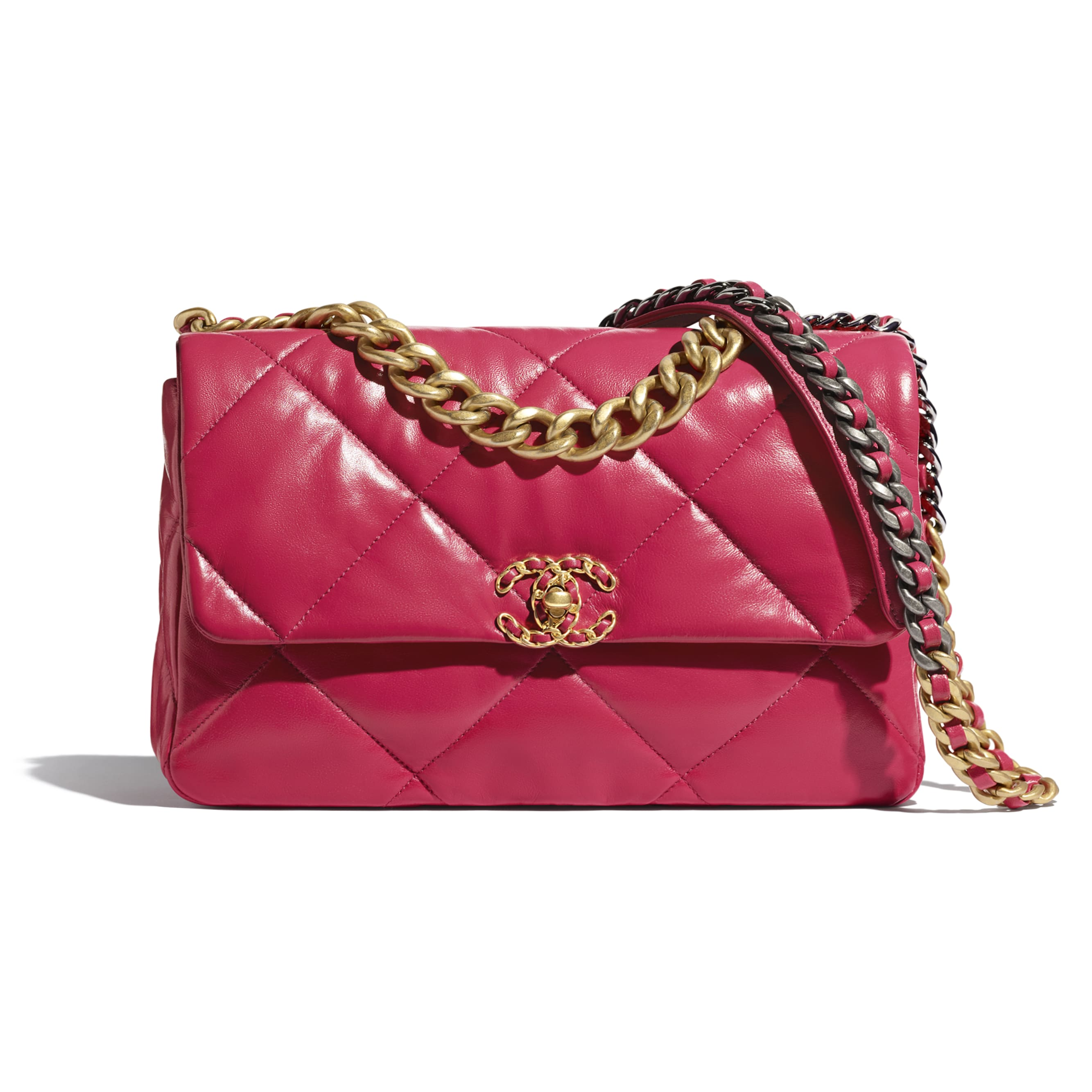 CHANEL 19 Large Flap Bag - Dark Pink - Lambskin, Gold-Tone, Silver-Tone & Ruthenium-Finish Metal - CHANEL - Default view - see standard sized version