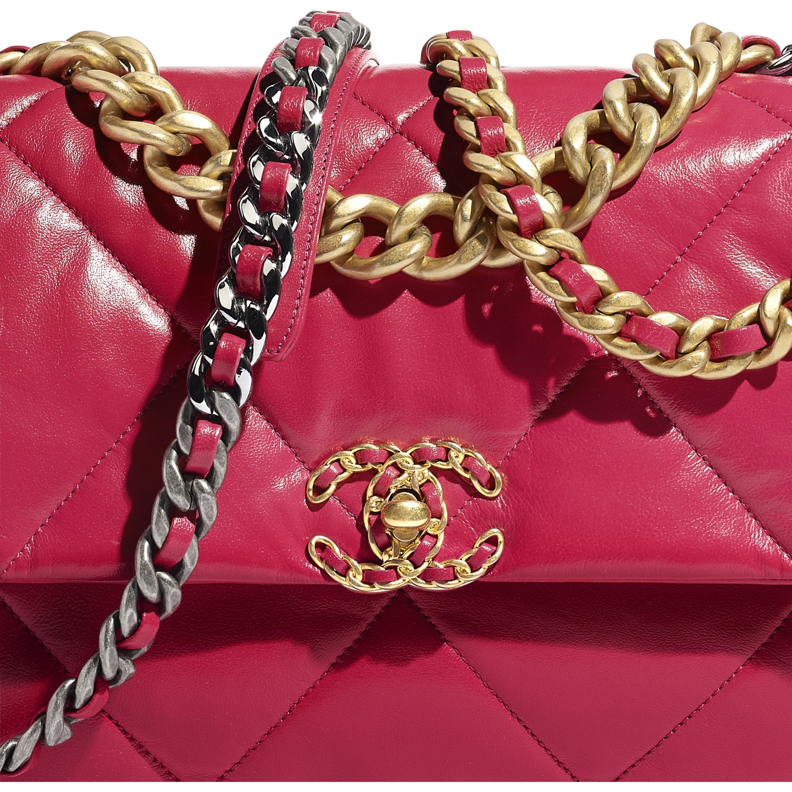 CHANEL 19 Large Flap Bag - Dark Pink - Lambskin, Gold-Tone, Silver-Tone & Ruthenium-Finish Metal - CHANEL - Extra view - see standard sized version