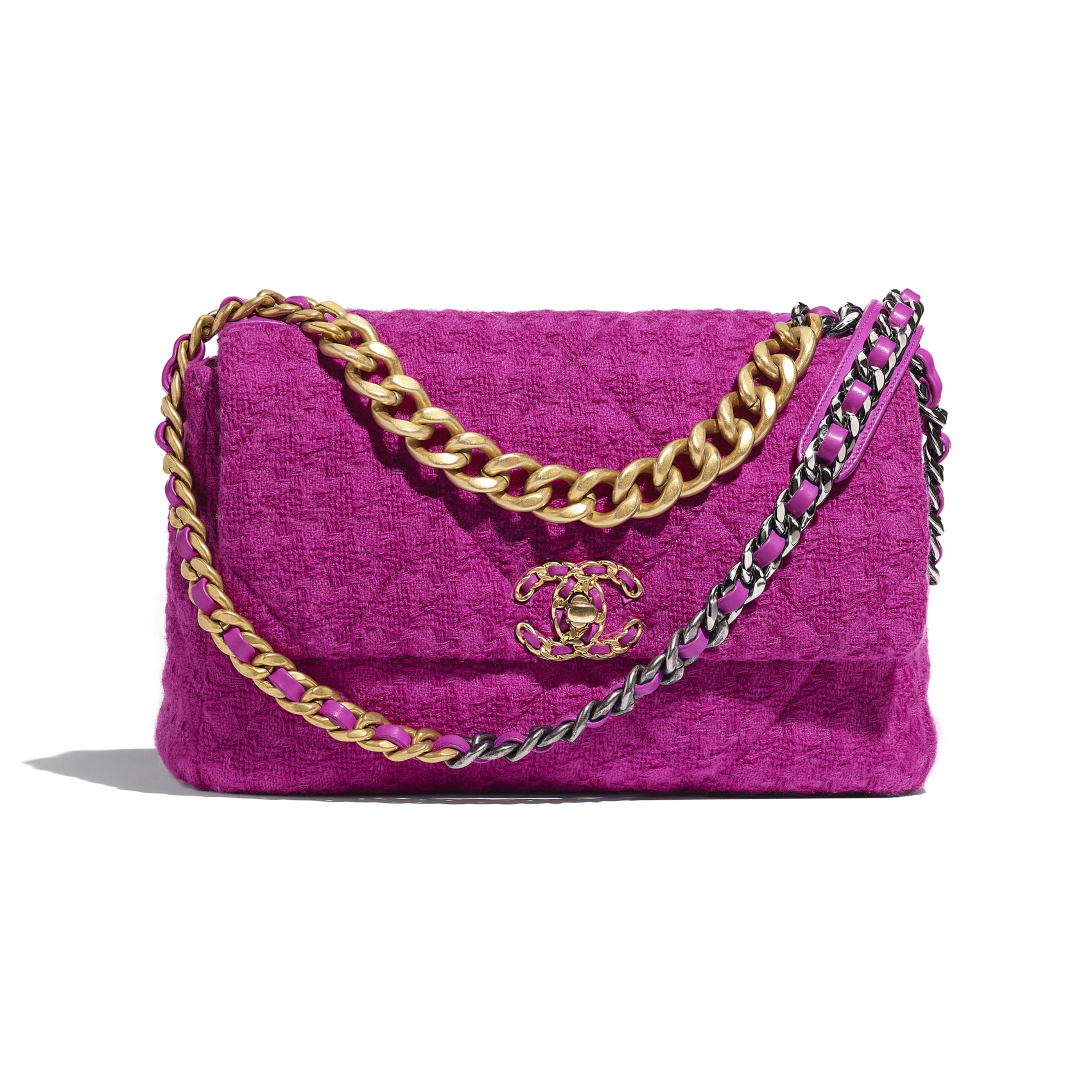 Duża torba CHANEL 19 z klapką - Kolor fuksji - Tweed wełniany, metal z rutenowym wykończeniem w tonacji złotej i srebrnej - Widok domyślny – zobacz w standardowym rozmiarze