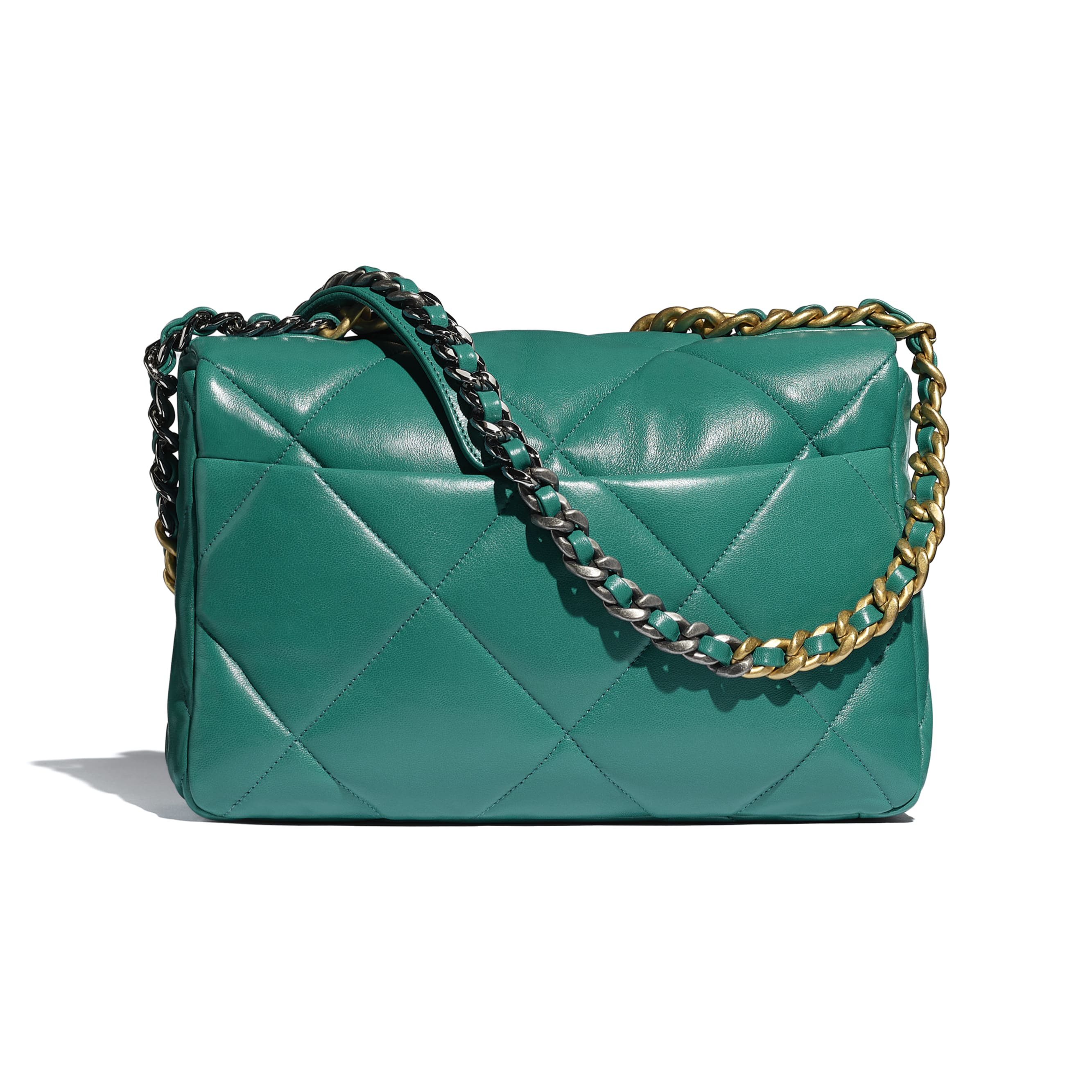 CHANEL 19 Large Flap Bag - Green - Lambskin, Gold-Tone, Silver-Tone & Ruthenium-Finish Metal - CHANEL - Alternative view - see standard sized version