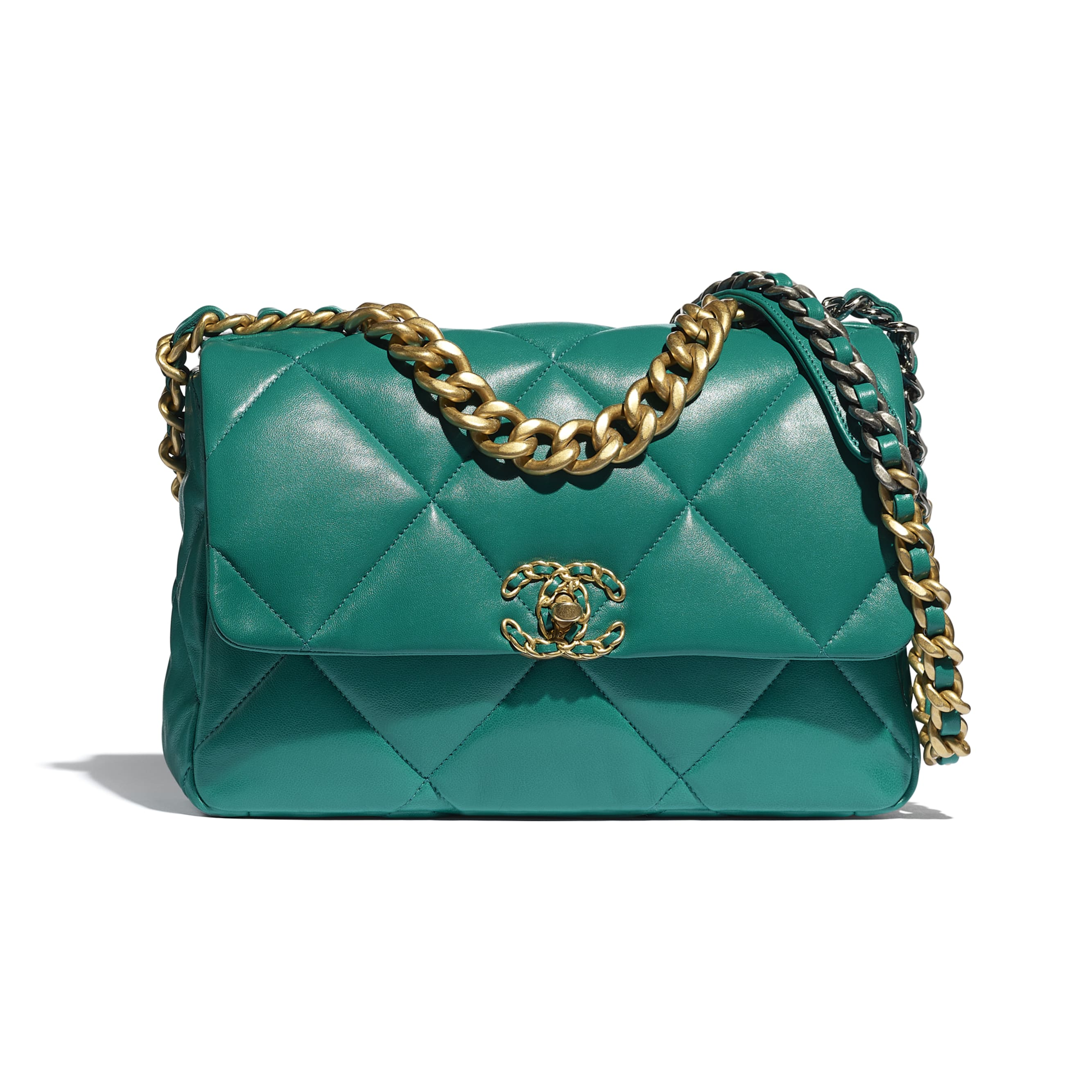 CHANEL 19 Large Flap Bag - Green - Lambskin, Gold-Tone, Silver-Tone & Ruthenium-Finish Metal - CHANEL - Default view - see standard sized version