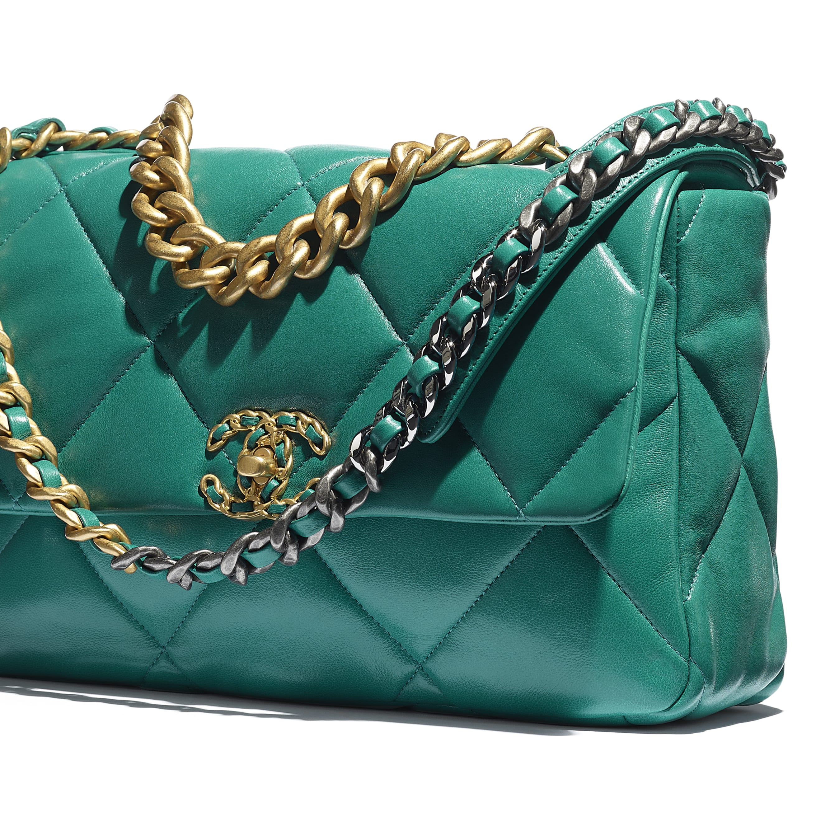 CHANEL 19 Large Flap Bag - Green - Lambskin, Gold-Tone, Silver-Tone & Ruthenium-Finish Metal - CHANEL - Extra view - see standard sized version