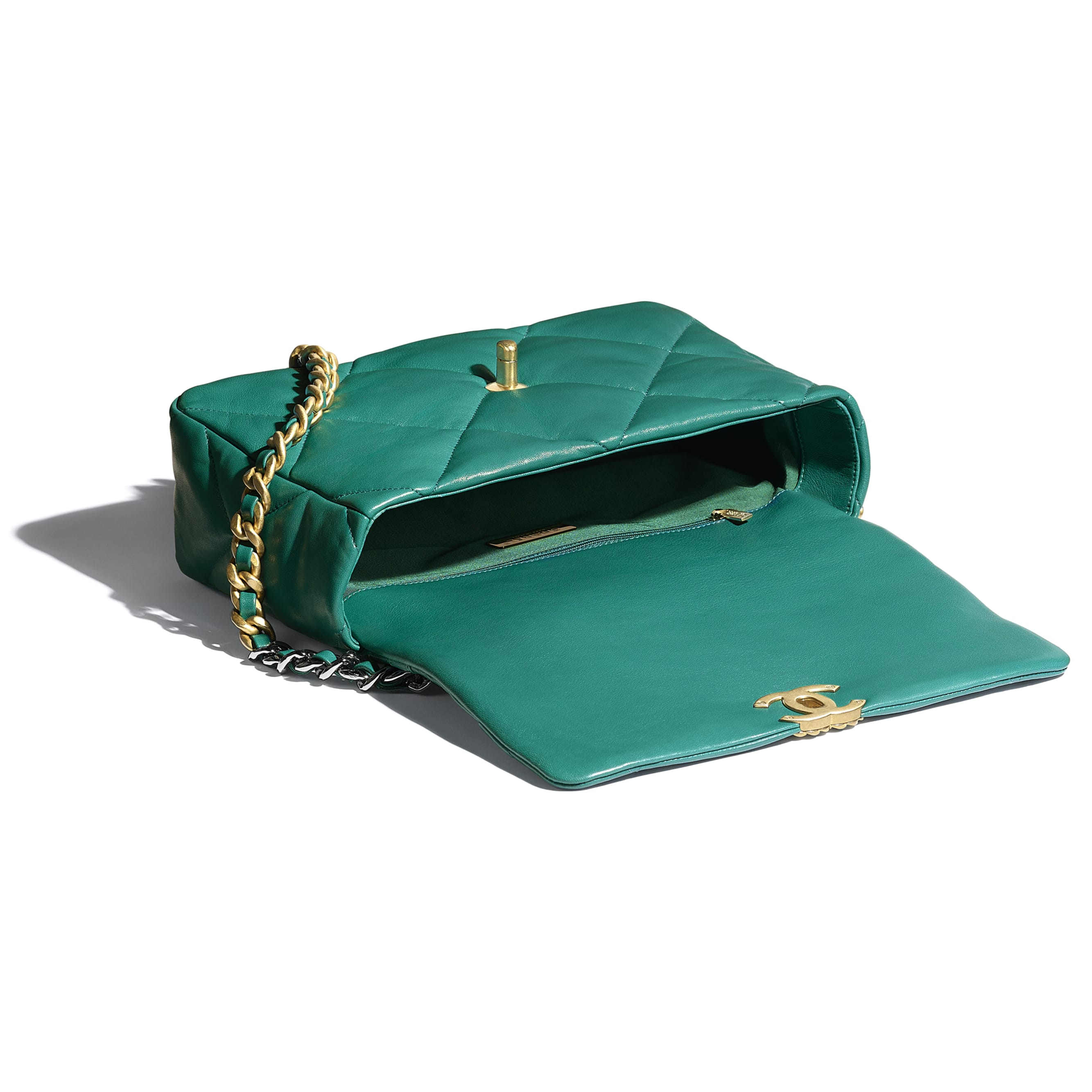 CHANEL 19 Large Flap Bag - Green - Lambskin, Gold-Tone, Silver-Tone & Ruthenium-Finish Metal - CHANEL - Other view - see standard sized version