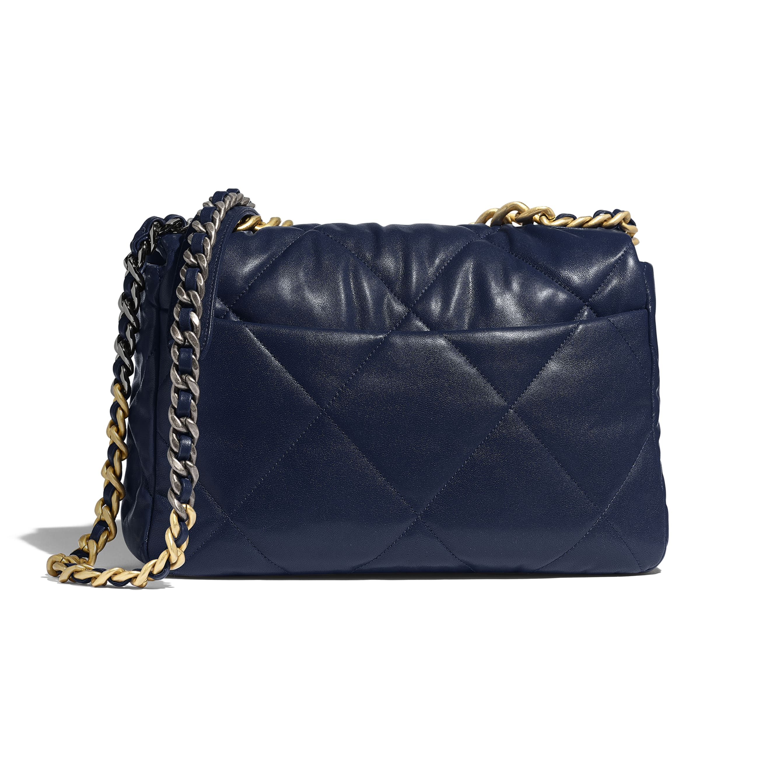 CHANEL 19 Large Flap Bag - Navy Blue - Lambskin, Gold-Tone, Silver-Tone & Ruthenium-Finish Metal - Alternative view - see standard sized version