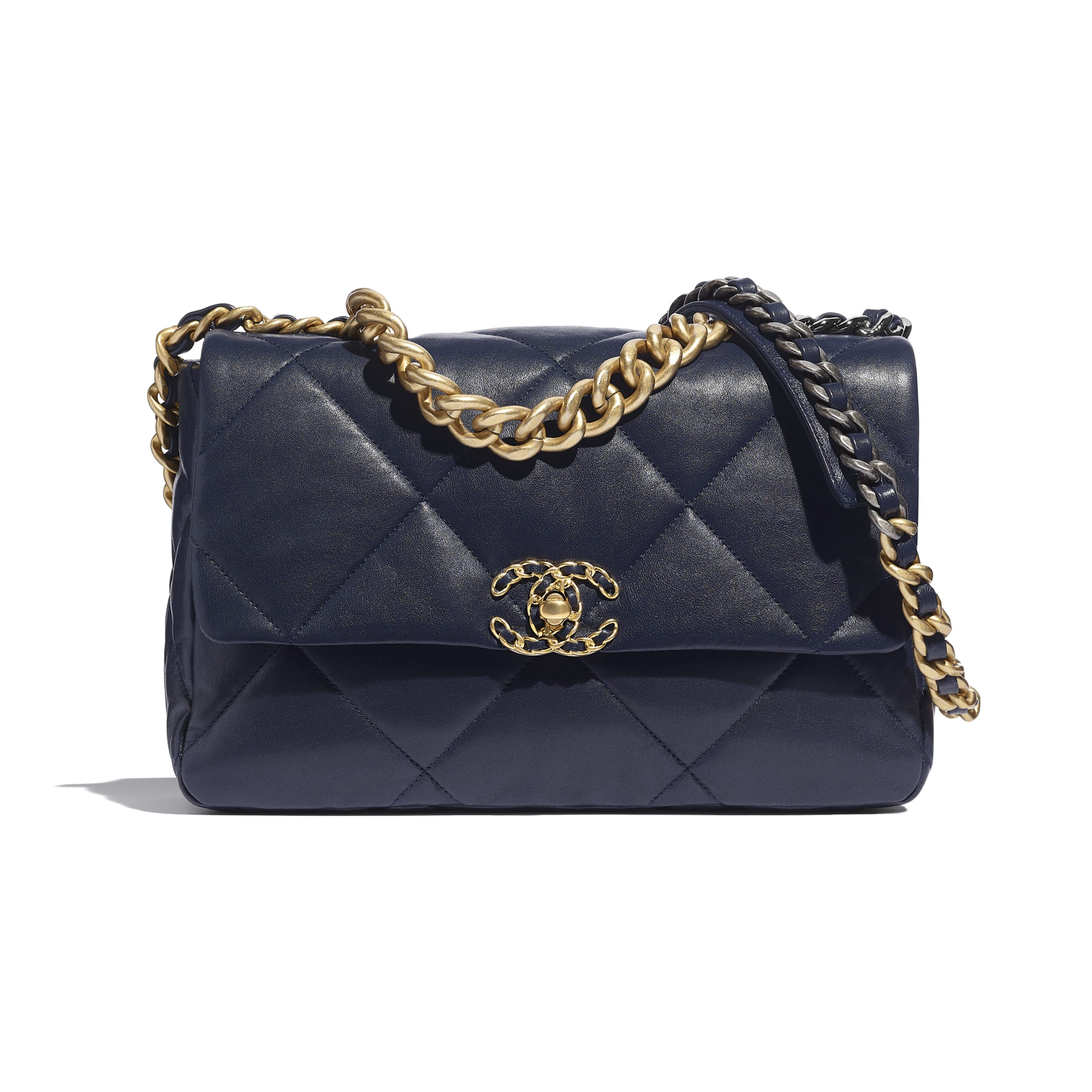 CHANEL 19 Large Flap Bag - Navy Blue - Lambskin, Gold-Tone, Silver-Tone & Ruthenium-Finish Metal - CHANEL - Default view - see standard sized version