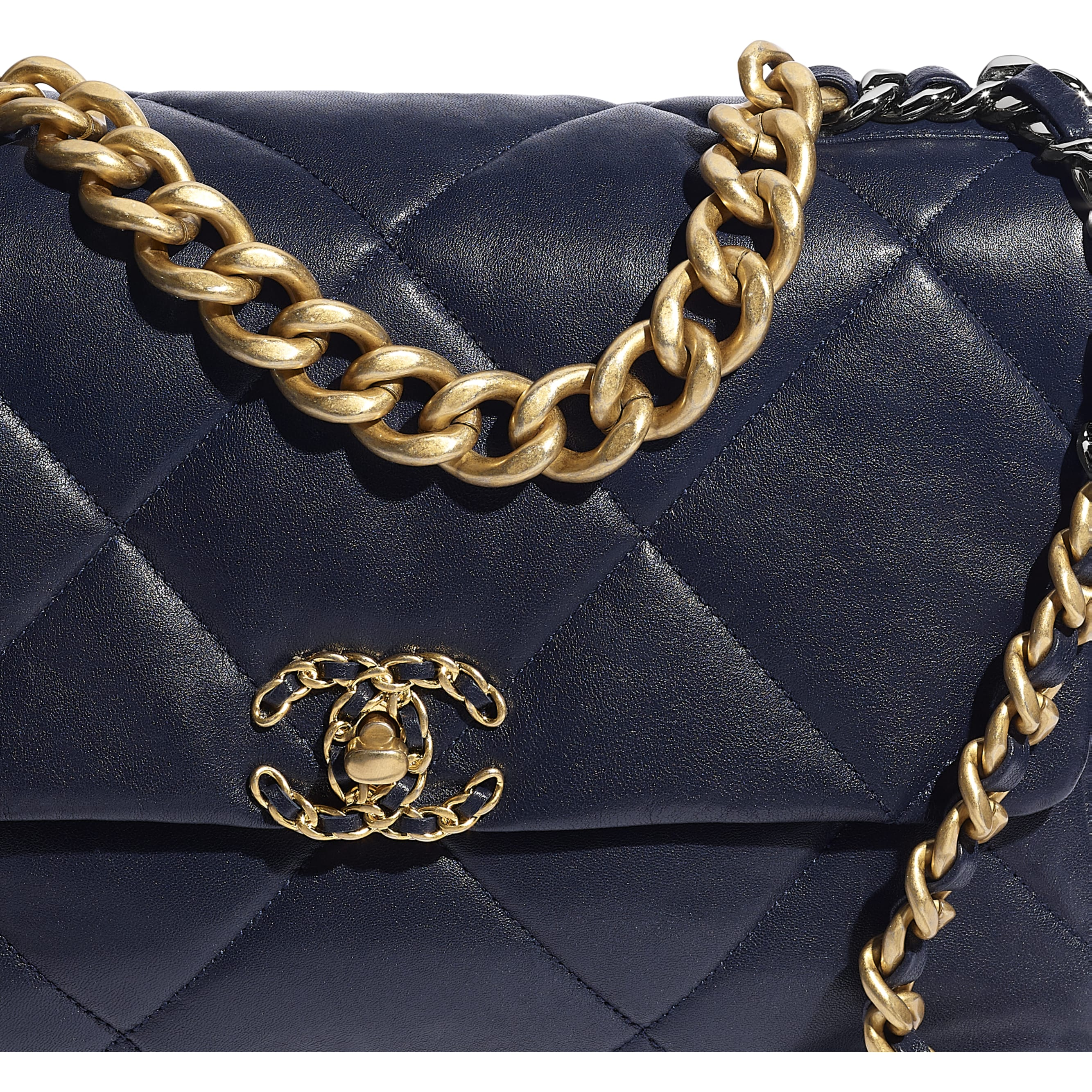 CHANEL 19 Large Flap Bag - Navy Blue - Lambskin, Gold-Tone, Silver-Tone & Ruthenium-Finish Metal - CHANEL - Extra view - see standard sized version