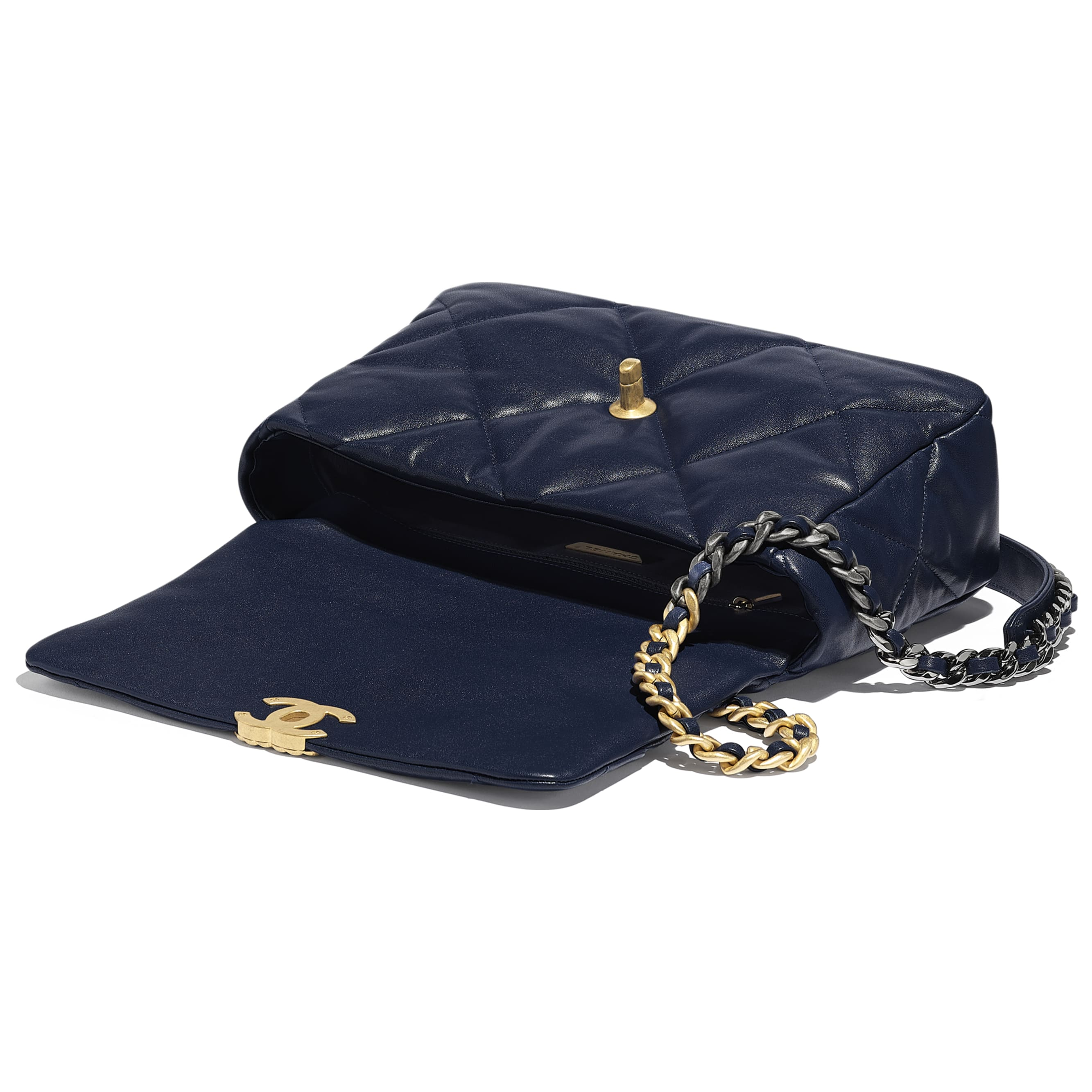 CHANEL 19 Large Flap Bag - Navy Blue - Lambskin, Gold-Tone, Silver-Tone & Ruthenium-Finish Metal - Other view - see standard sized version