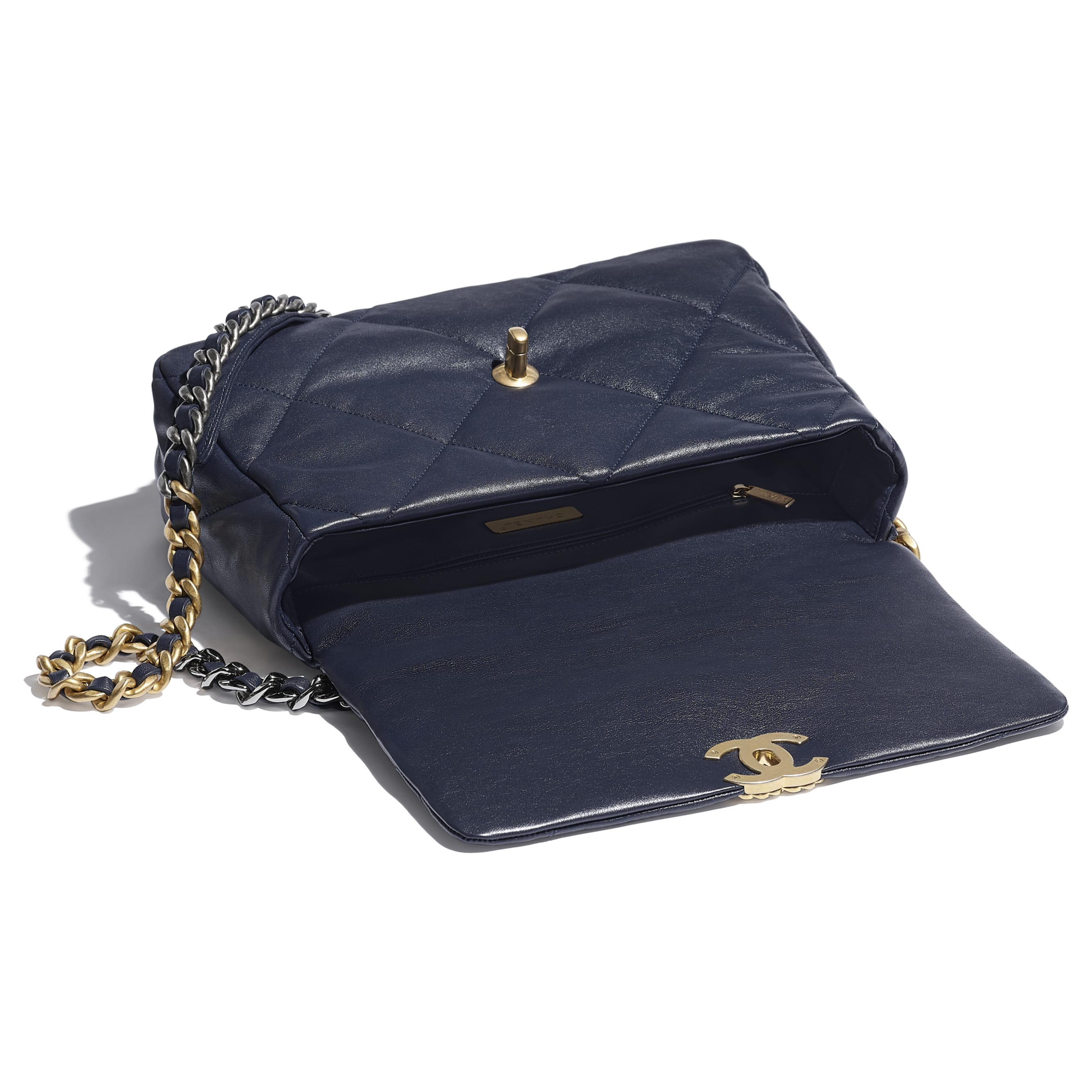 CHANEL 19 Large Flap Bag - Navy Blue - Lambskin, Gold-Tone, Silver-Tone & Ruthenium-Finish Metal - CHANEL - Other view - see standard sized version