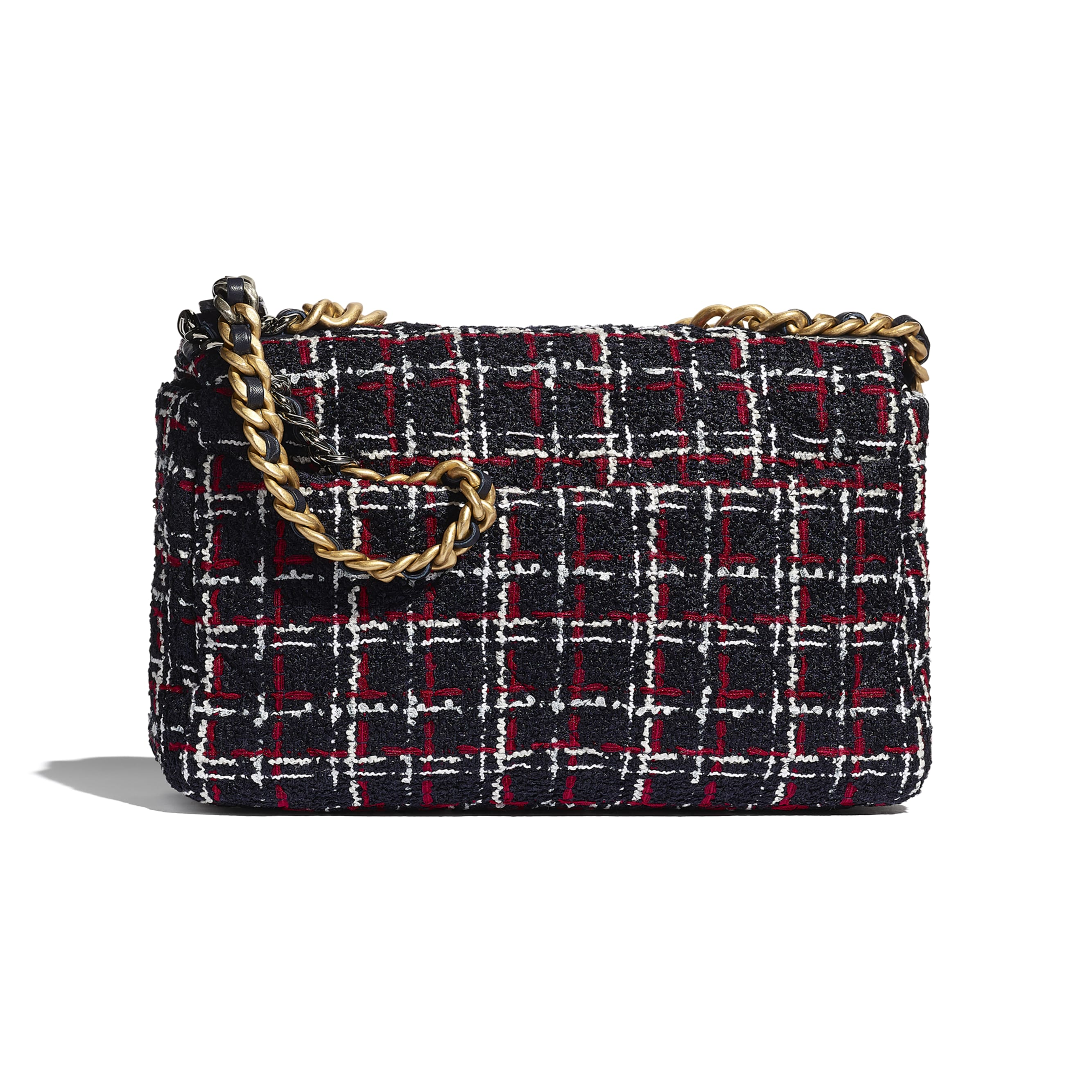 CHANEL 19 Large Flap Bag - Navy Blue, White & Red - Tweed, Gold-Tone, Silver-Tone & Ruthenium-Finish Metal - Alternative view - see standard sized version