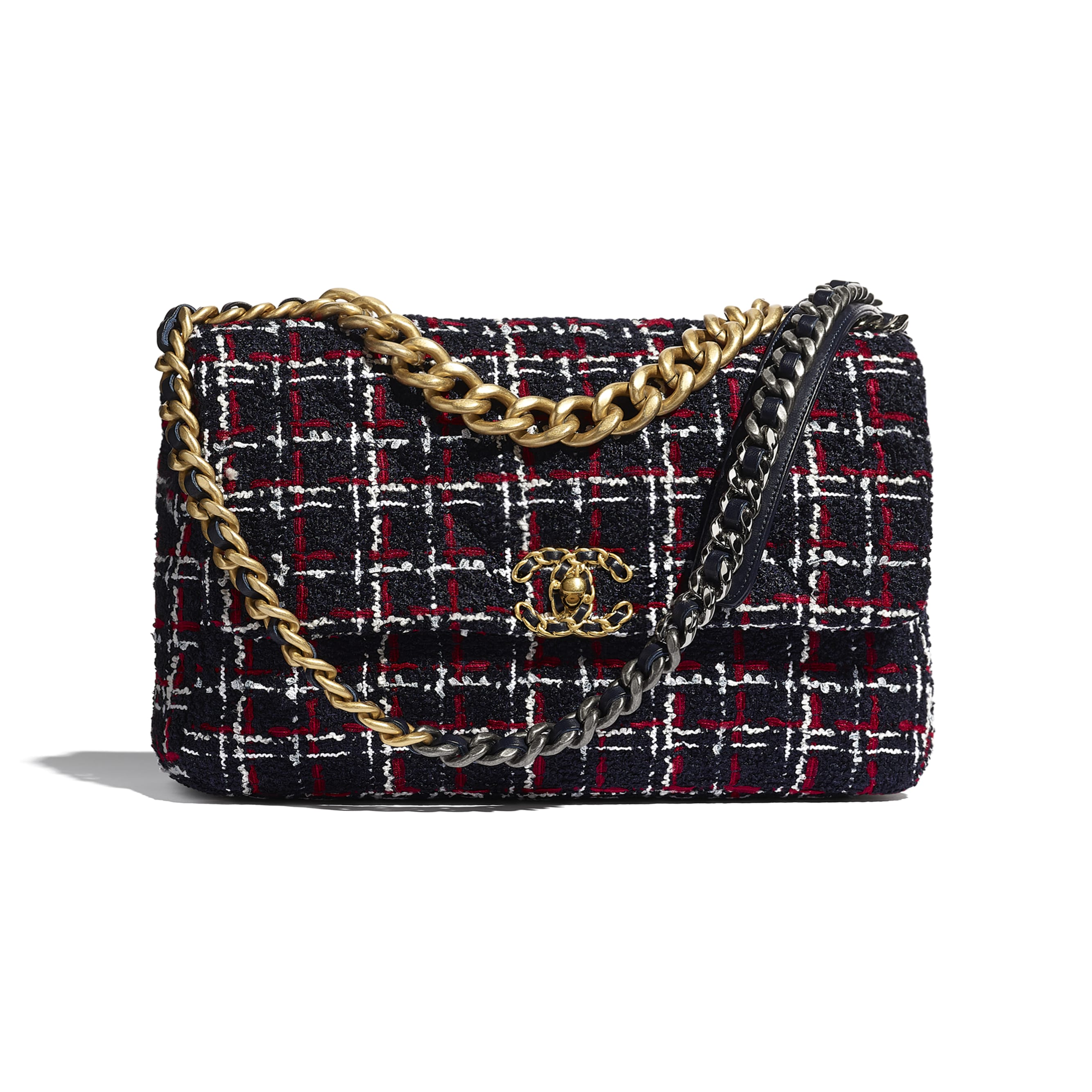 CHANEL 19 Large Flap Bag - Navy Blue, White & Red - Tweed, Gold-Tone, Silver-Tone & Ruthenium-Finish Metal - Default view - see standard sized version