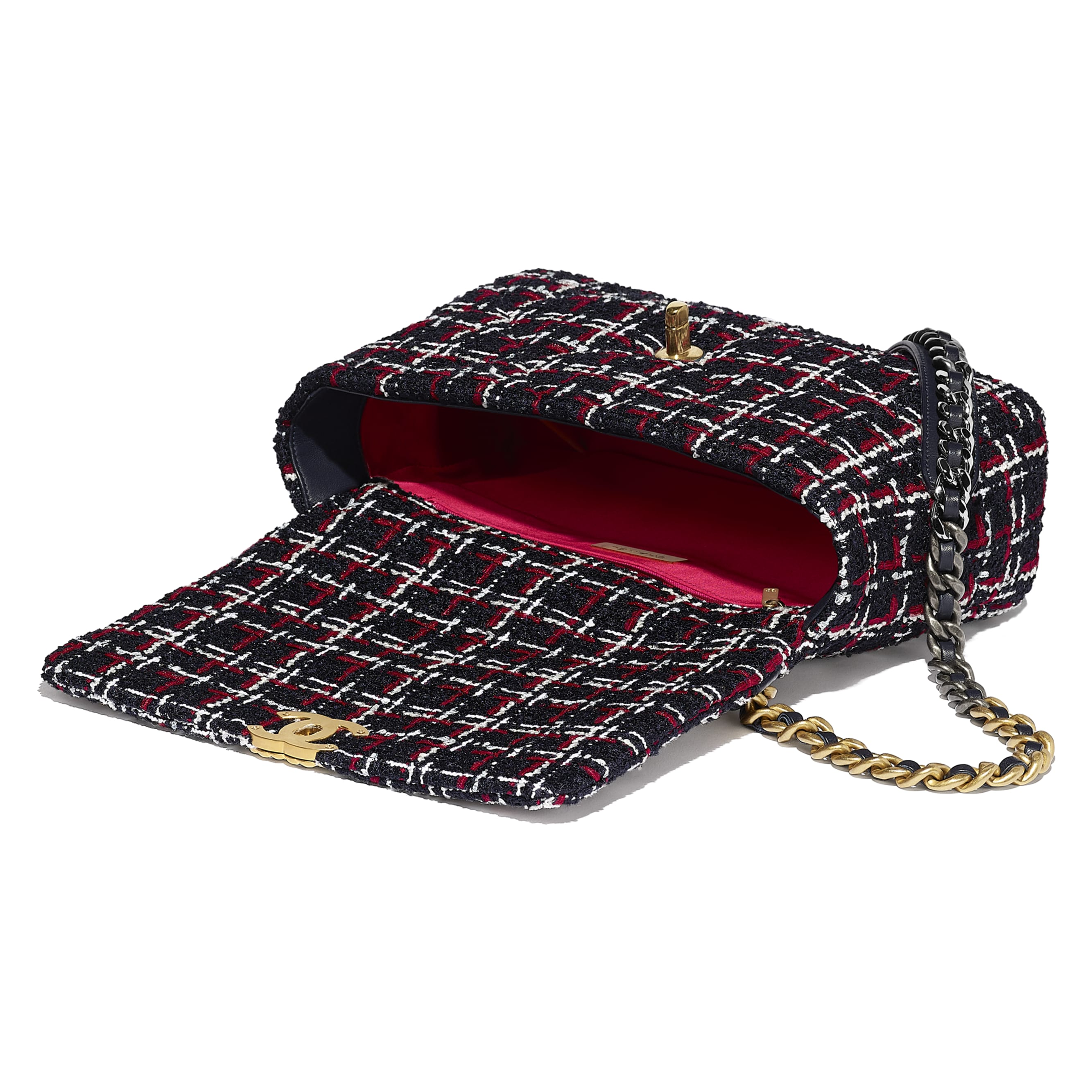 CHANEL 19 Large Flap Bag - Navy Blue, White & Red - Tweed, Gold-Tone, Silver-Tone & Ruthenium-Finish Metal - Other view - see standard sized version