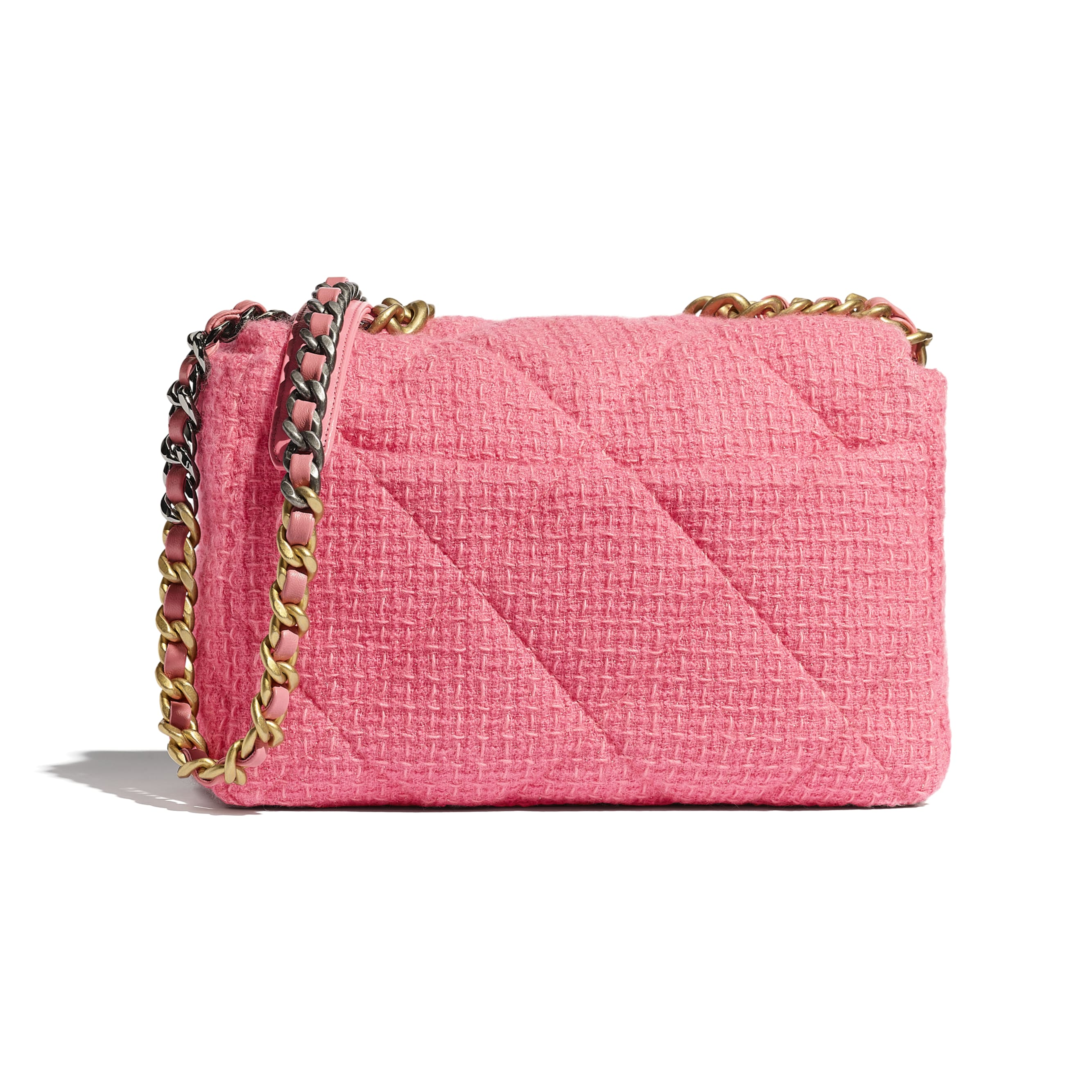 CHANEL 19 Large Flap Bag - Pink - Wool Tweed, Gold-Tone, Silver-Tone & Ruthenium-Finish Metal - CHANEL - Alternative view - see standard sized version