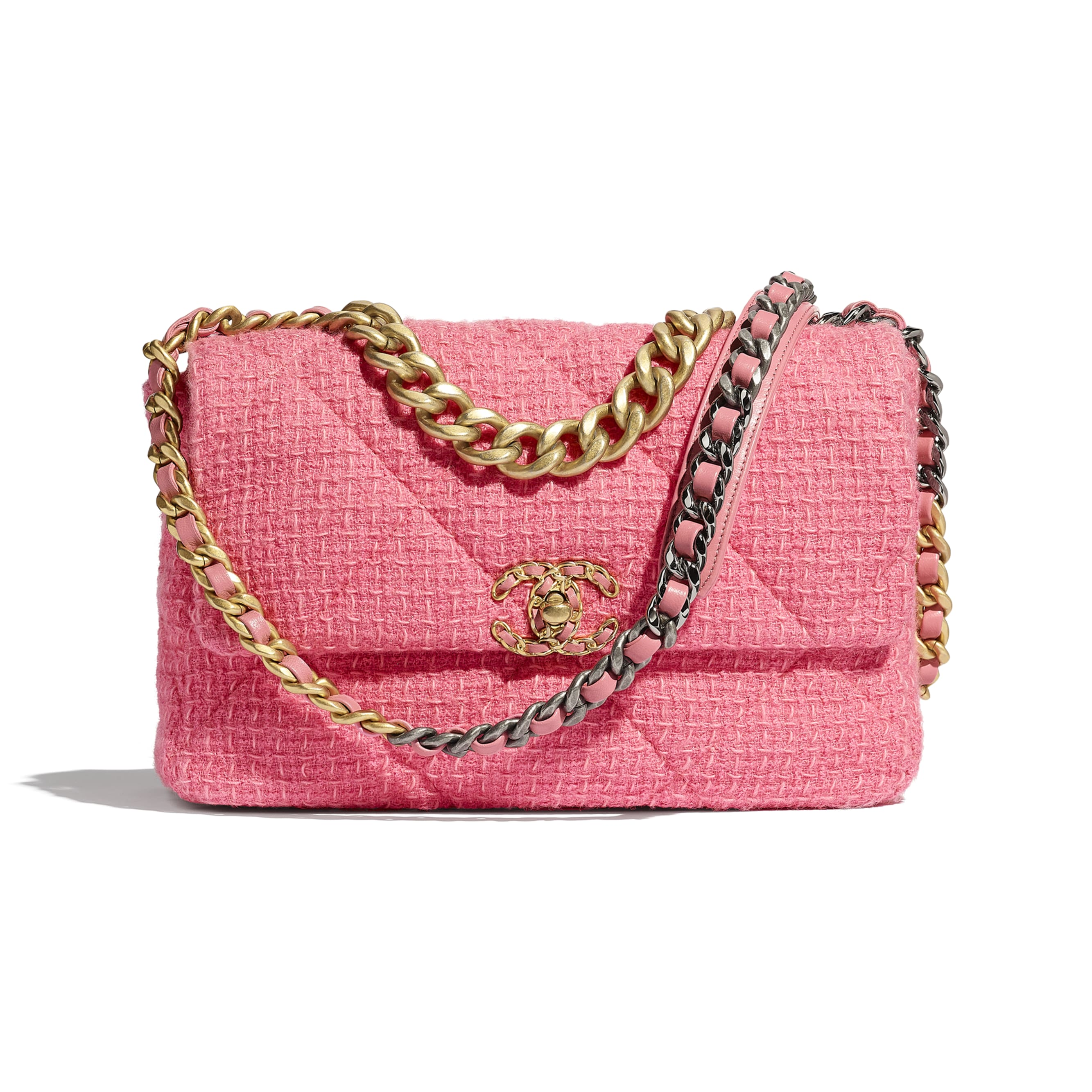 CHANEL 19 Large Flap Bag - Pink - Wool Tweed, Gold-Tone, Silver-Tone & Ruthenium-Finish Metal - CHANEL - Default view - see standard sized version