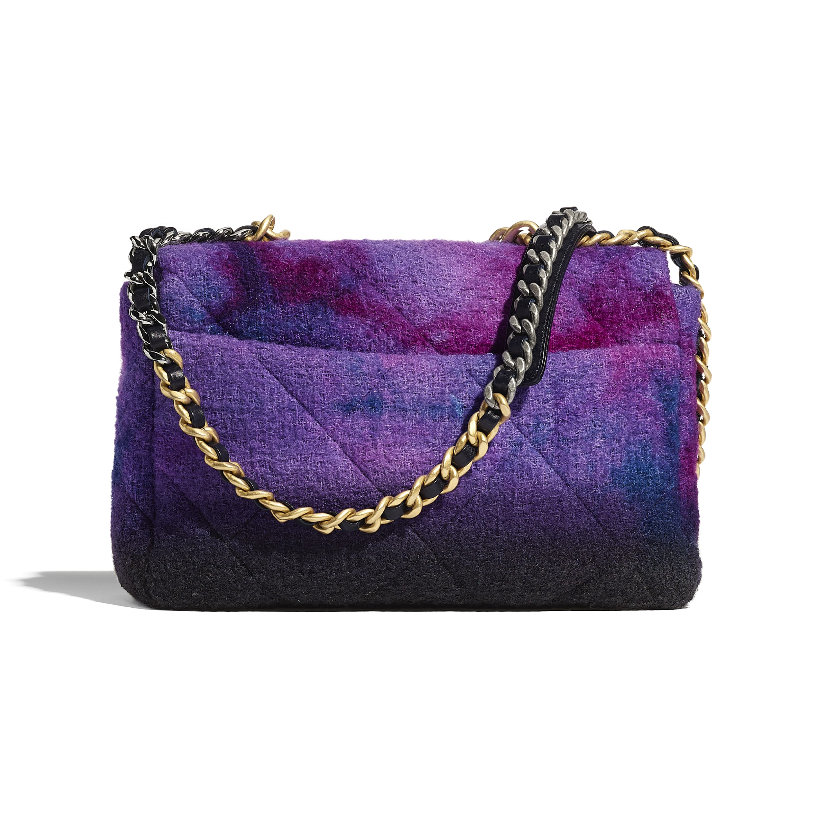 CHANEL 19 Large Flap Bag - Purple, Black & Blue - Wool Tweed, Gold-Tone, Silver-Tone & Ruthenium-Finish Metal - CHANEL - Alternative view - see standard sized version