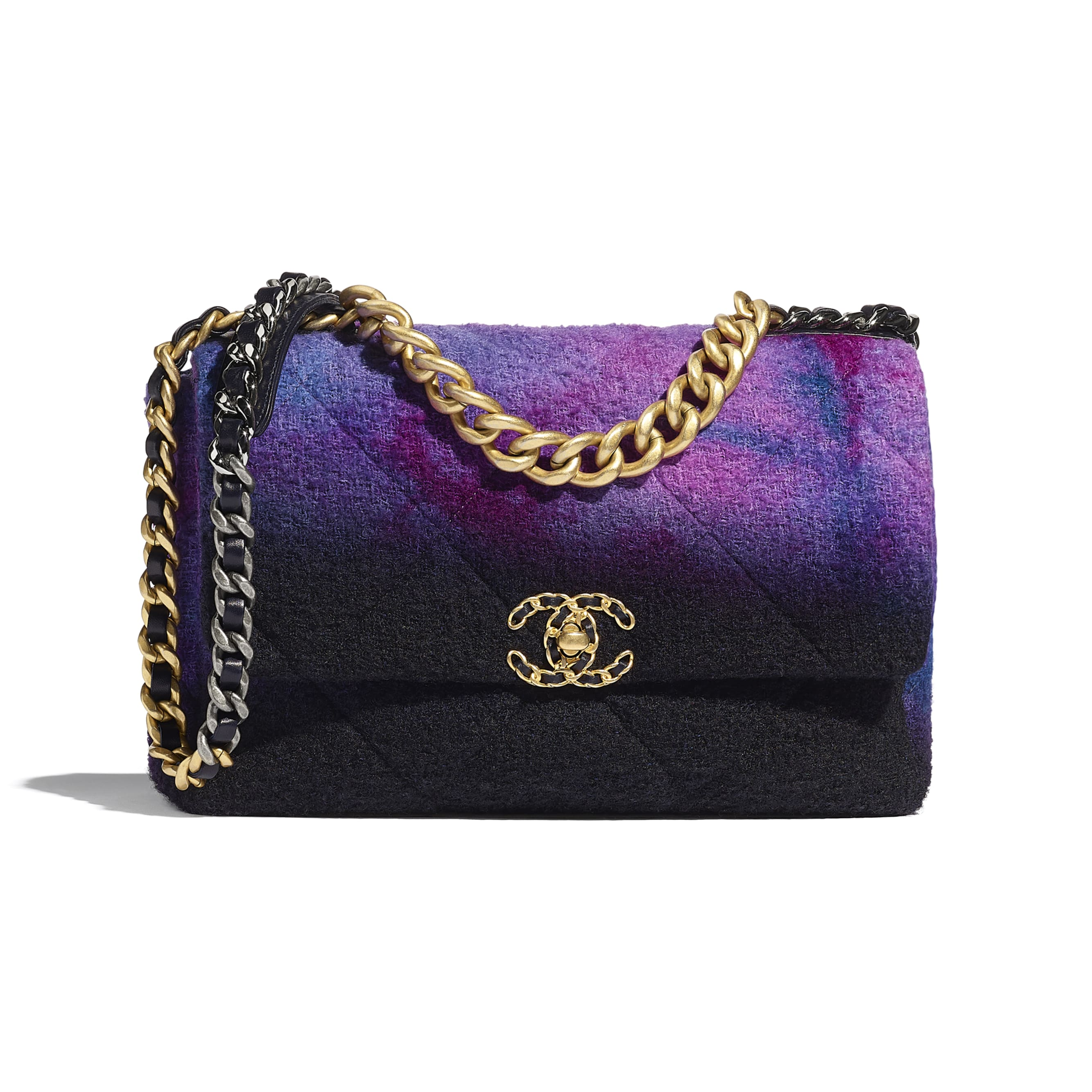 CHANEL 19 Large Flap Bag - Purple, Black & Blue - Wool Tweed, Gold-Tone, Silver-Tone & Ruthenium-Finish Metal - CHANEL - Default view - see standard sized version