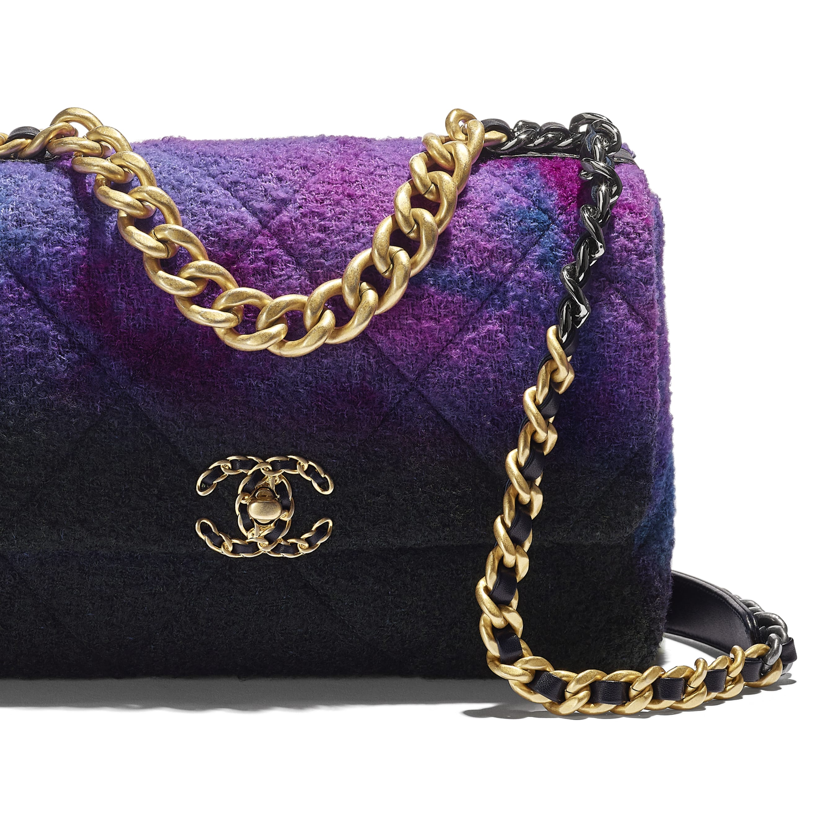 CHANEL 19 Large Flap Bag - Purple, Black & Blue - Wool Tweed, Gold-Tone, Silver-Tone & Ruthenium-Finish Metal - CHANEL - Extra view - see standard sized version